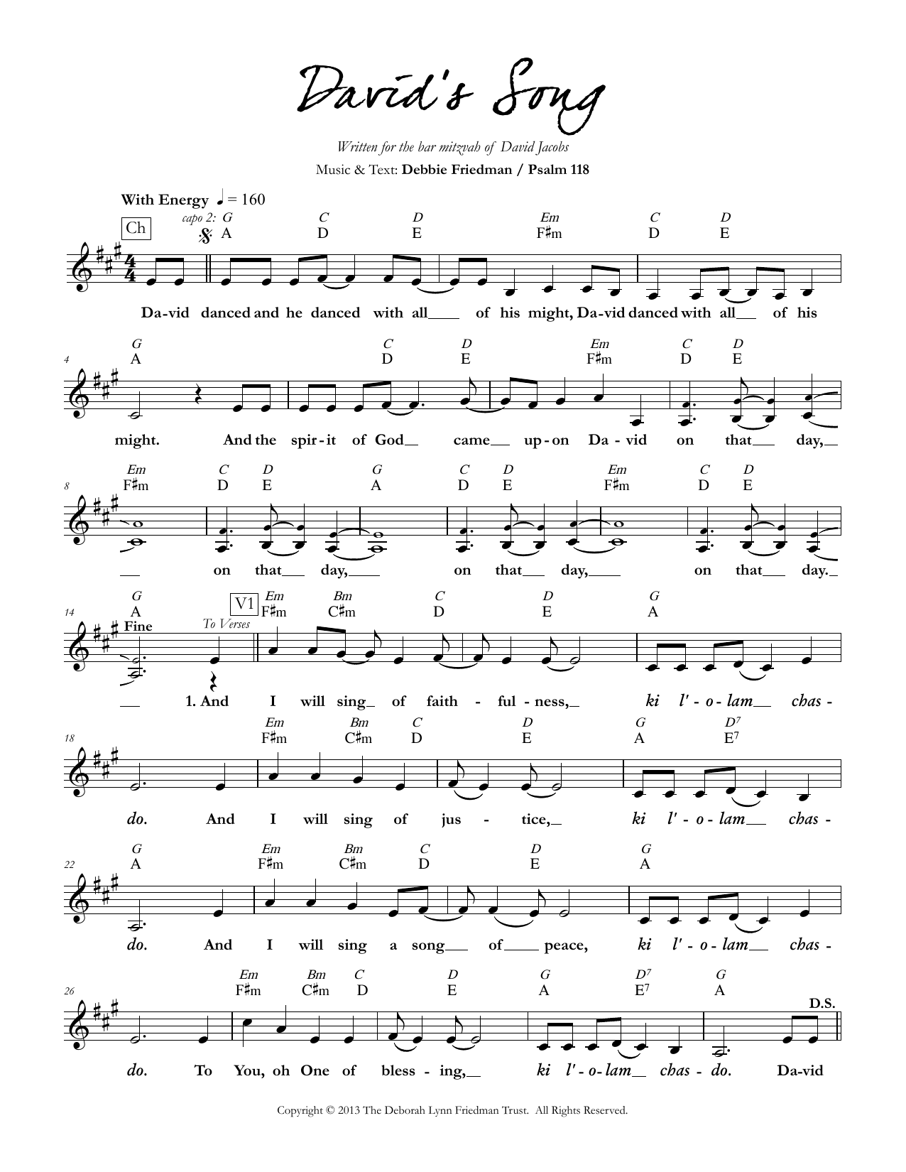 David's Song Sheet Music