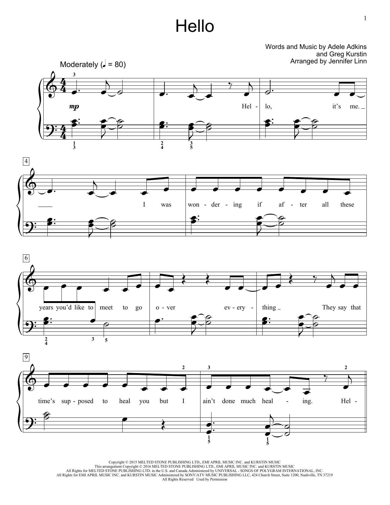 Hello Sheet Music