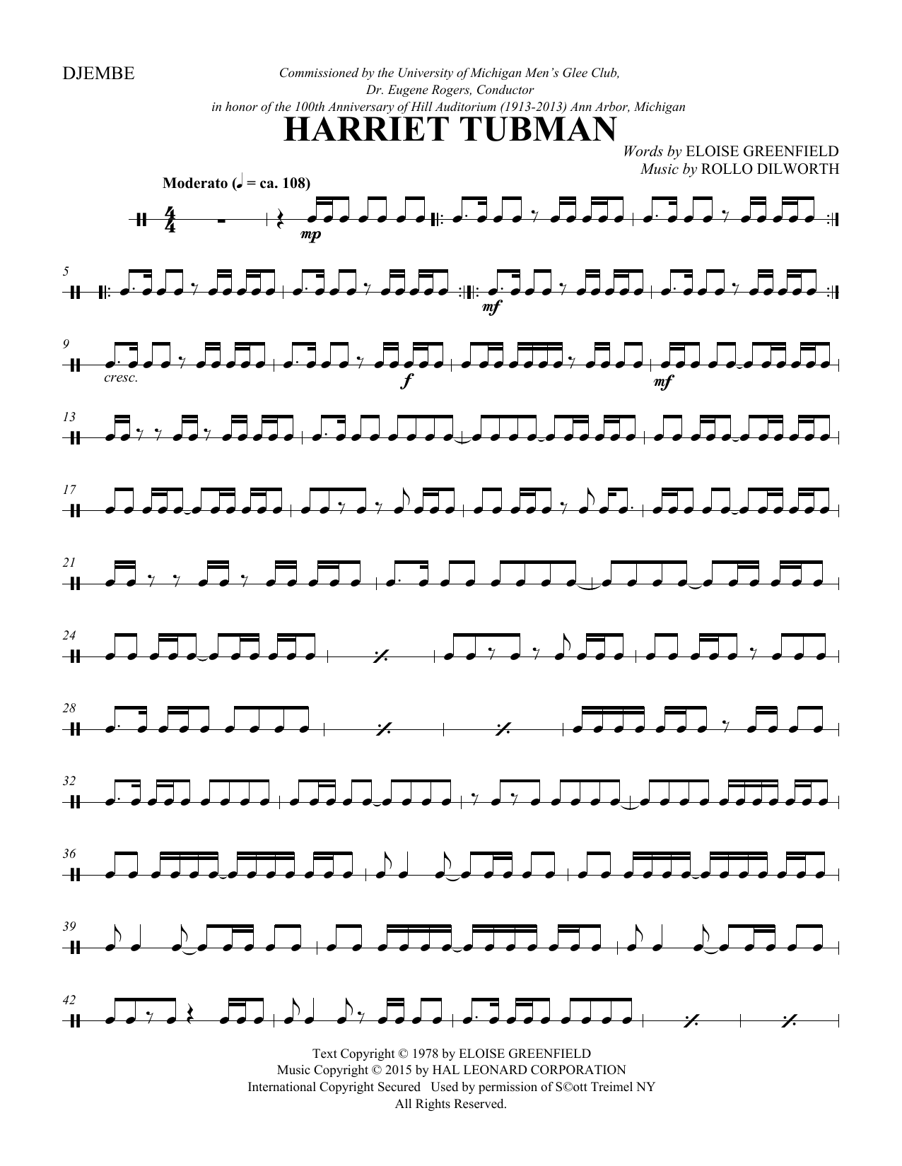 Harriet Tubman - Djembe Sheet Music