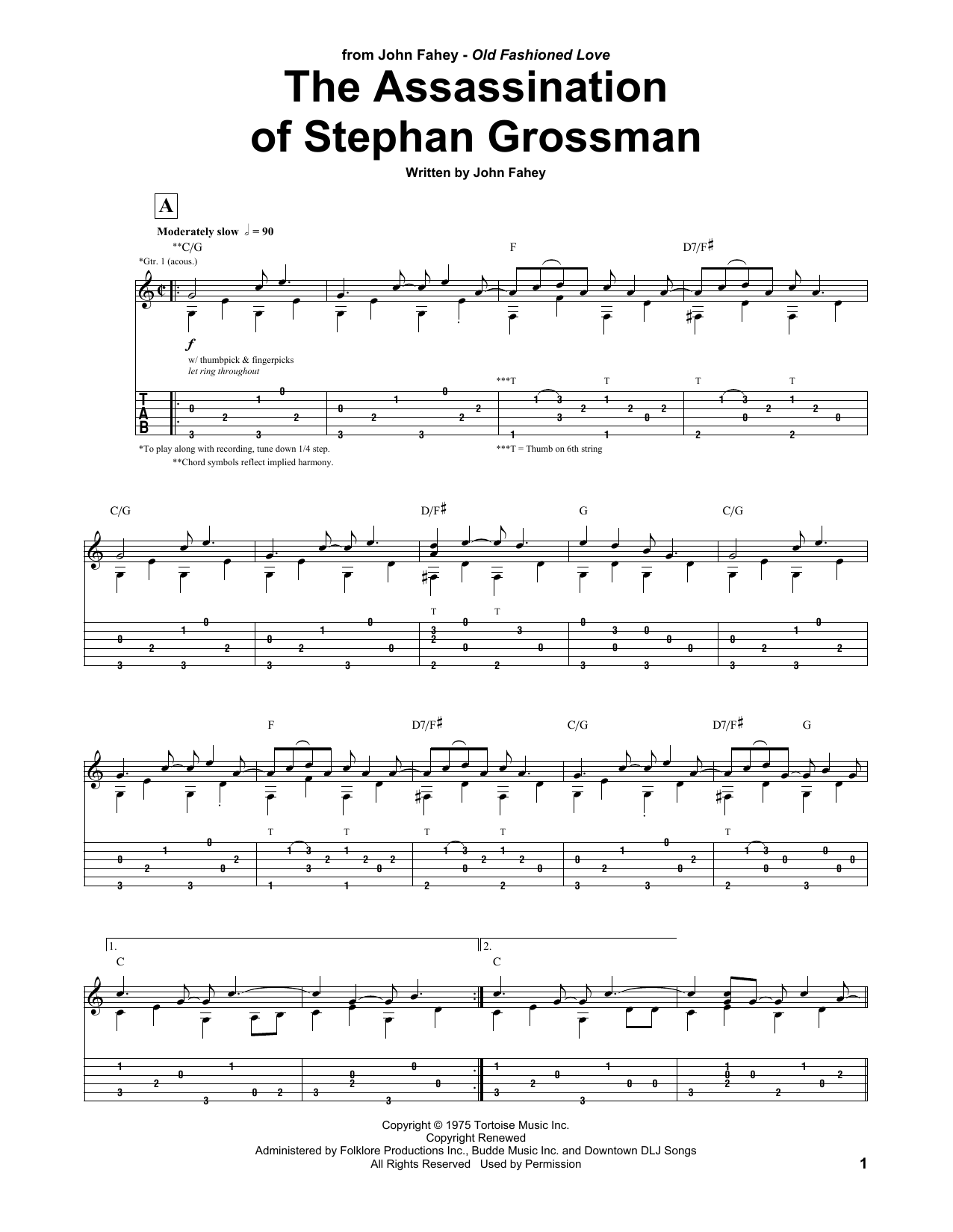 Assassination Of Stephan Grossman Sheet Music