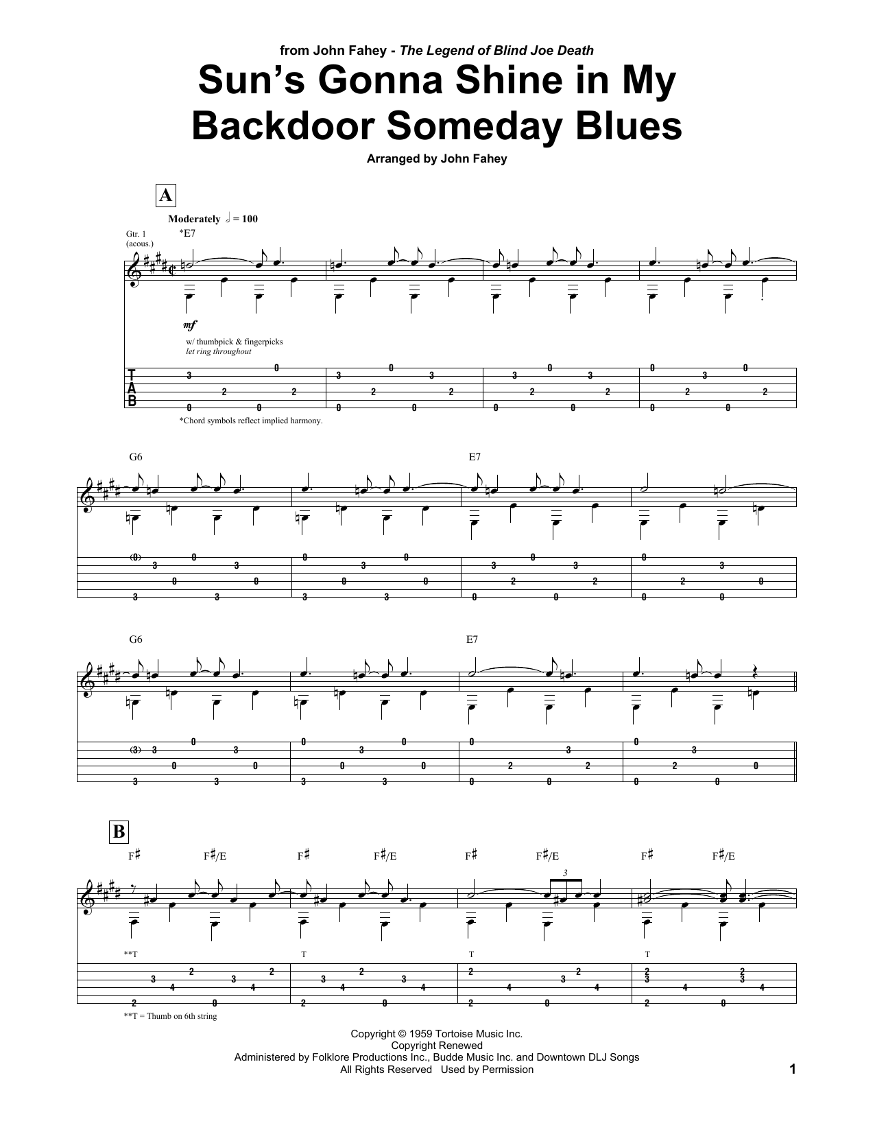 Suns Gonna Shine In My Backdoor Someday Blues John Fahey Guitar Tab