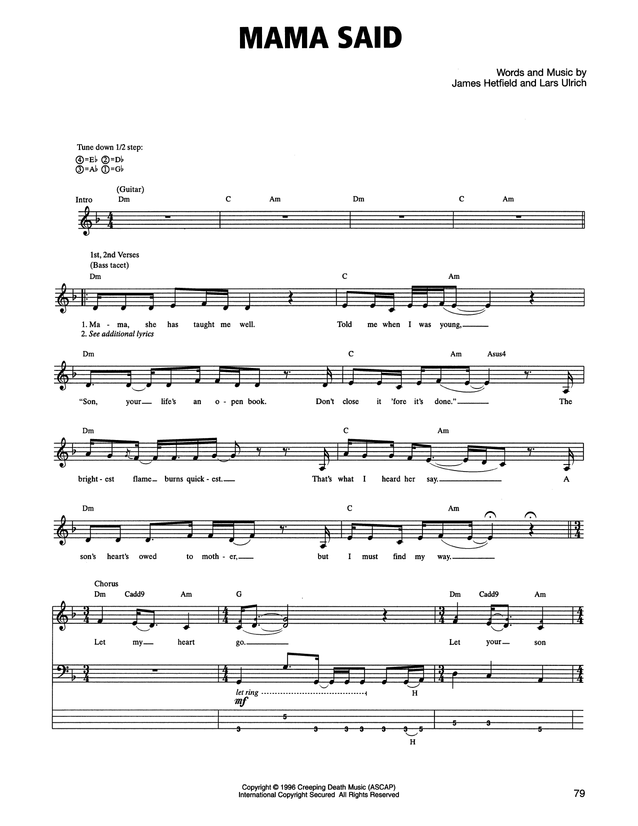 Tablature guitare Mama Said de Metallica - Tablature Basse
