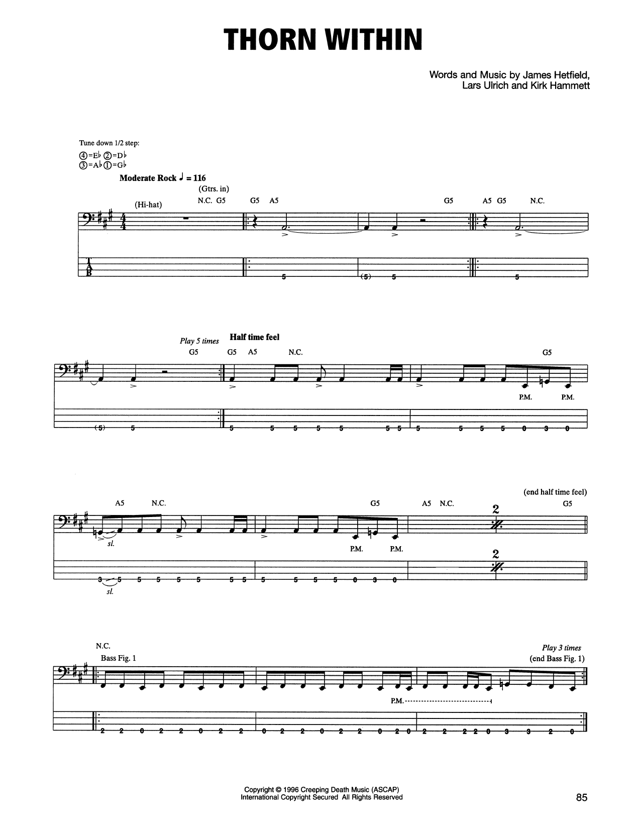 Tablature guitare The Thorn Within de Metallica - Tablature Basse