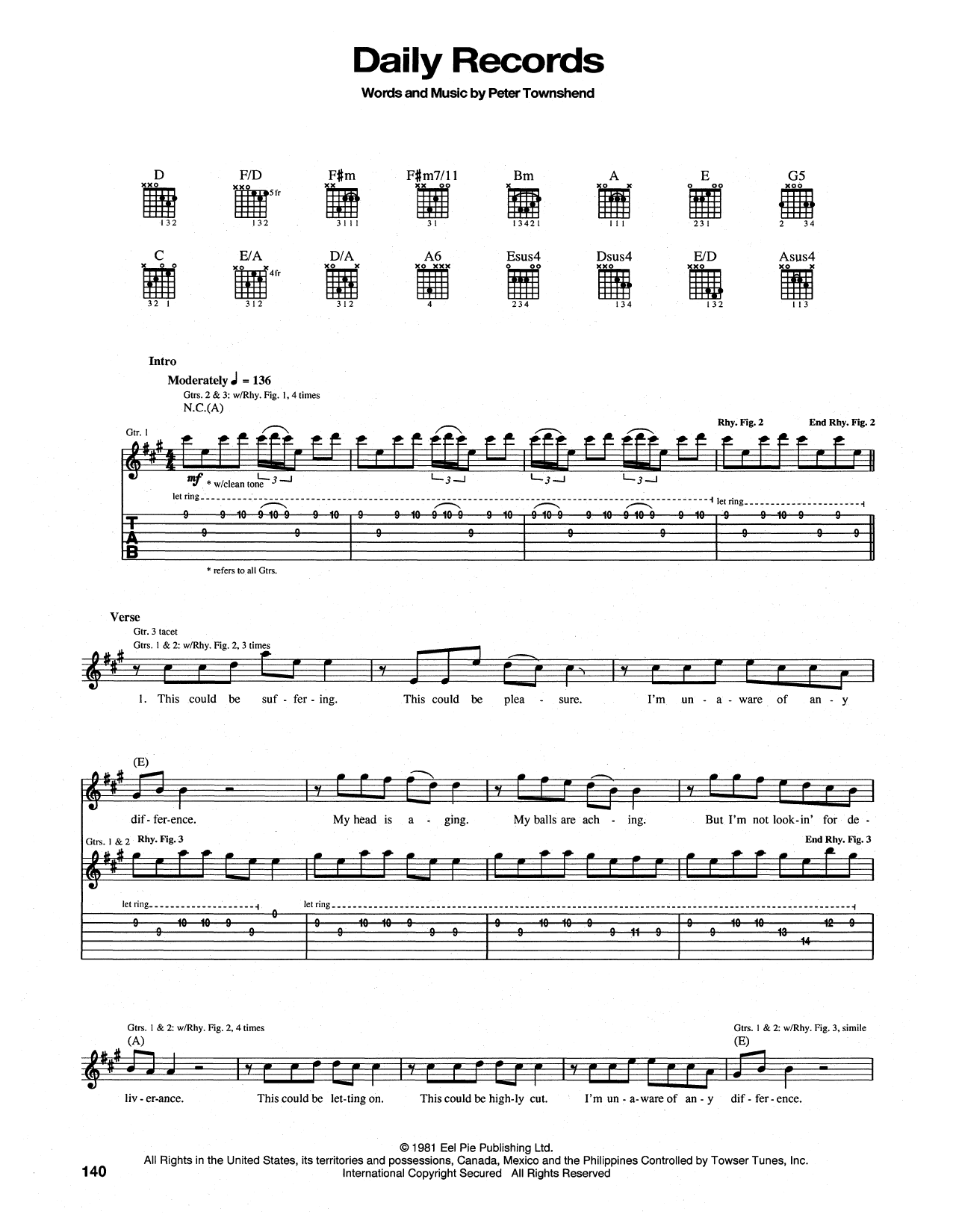 Daily Records Sheet Music