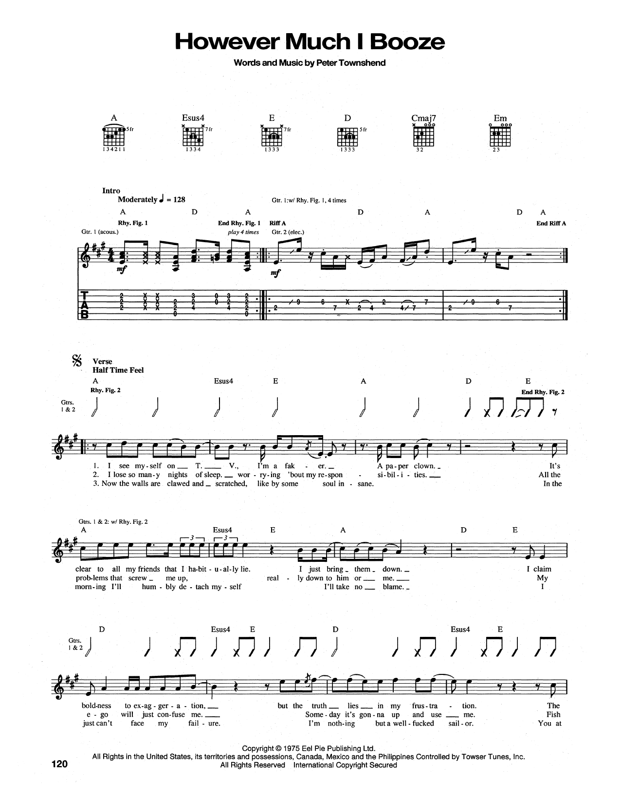 Tablature guitare However Much I Booze de The Who - Tablature Guitare