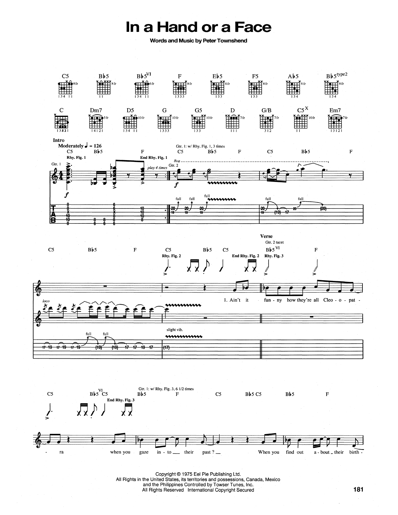 In A Hand Or A Face Sheet Music