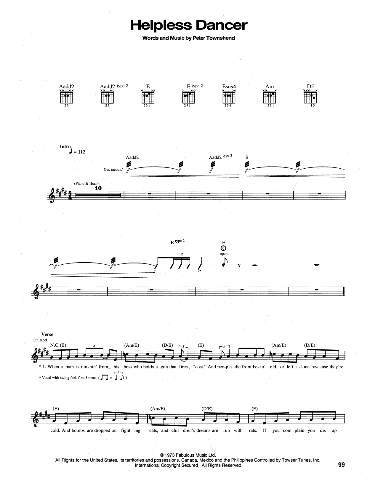 Helpless Dancer Sheet Music