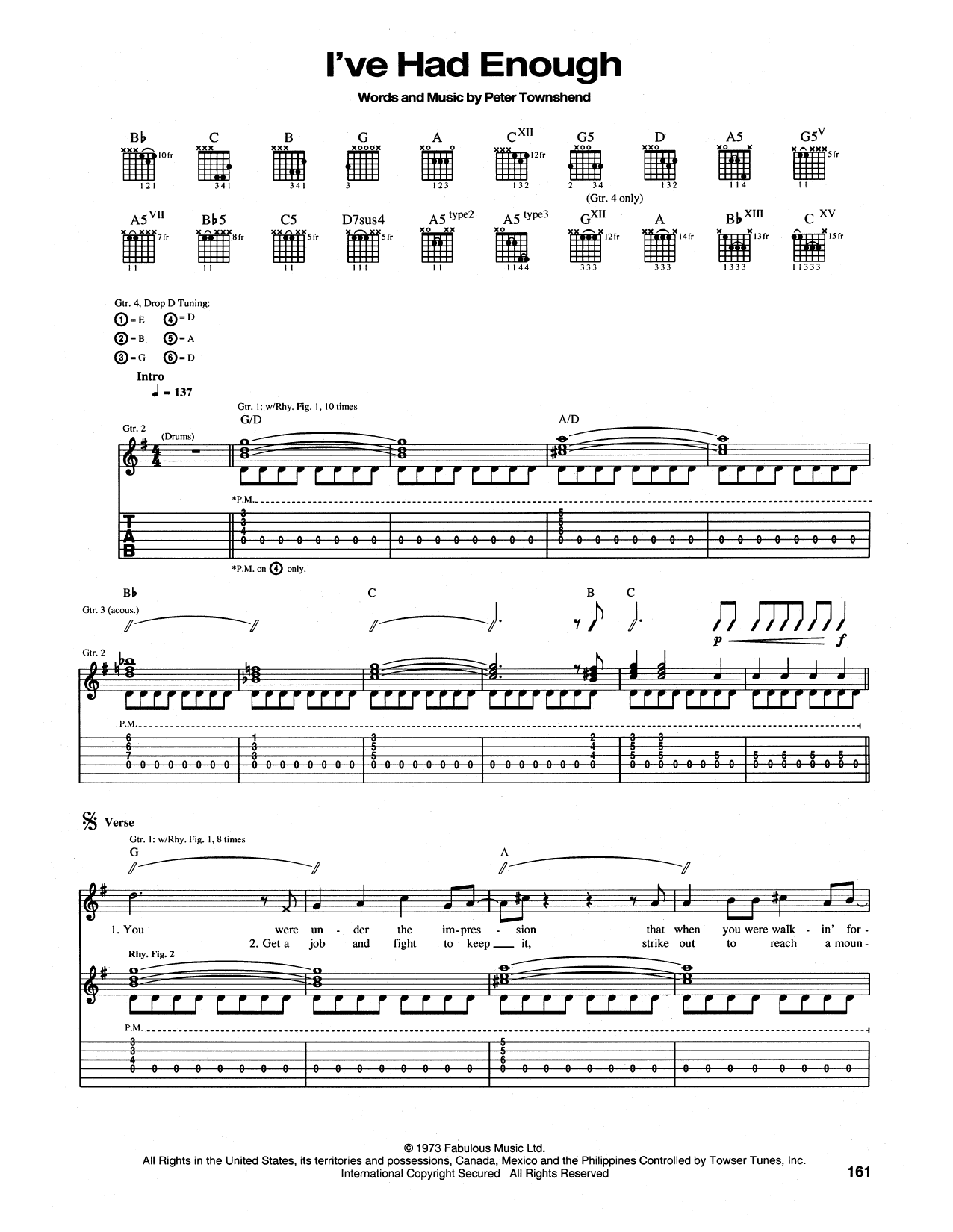 Tablature guitare I've Had Enough de The Who - Tablature Guitare