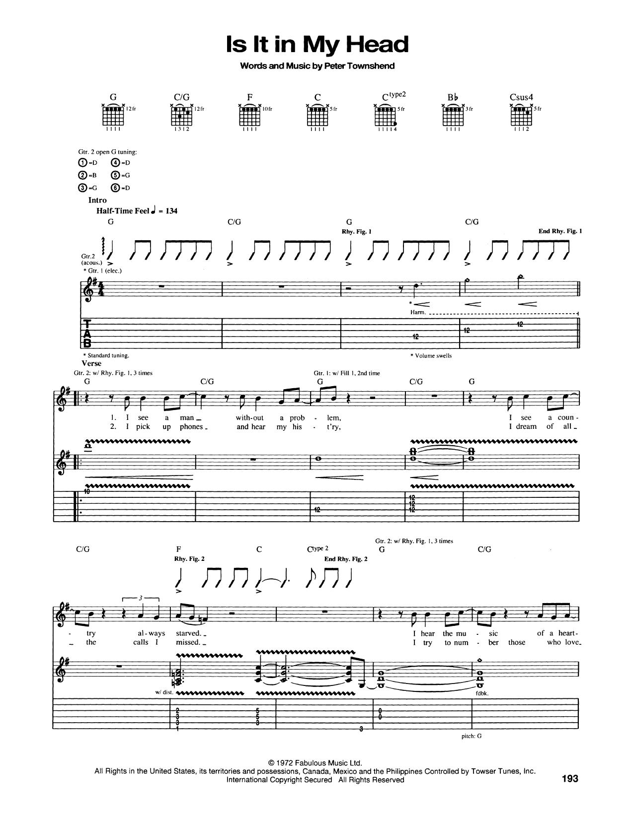 Tablature guitare Is It In My Head de The Who - Tablature Guitare