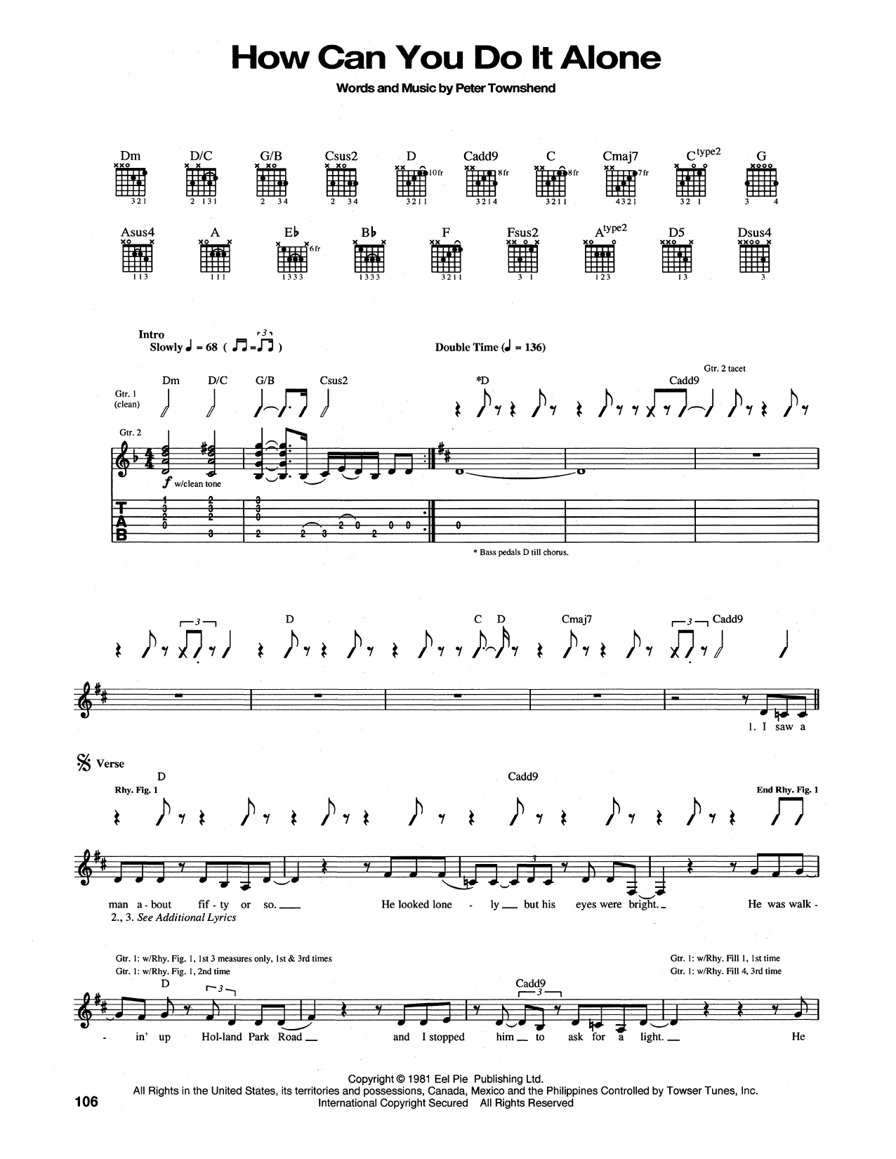How Can You Do It Alone (Guitar Tab)