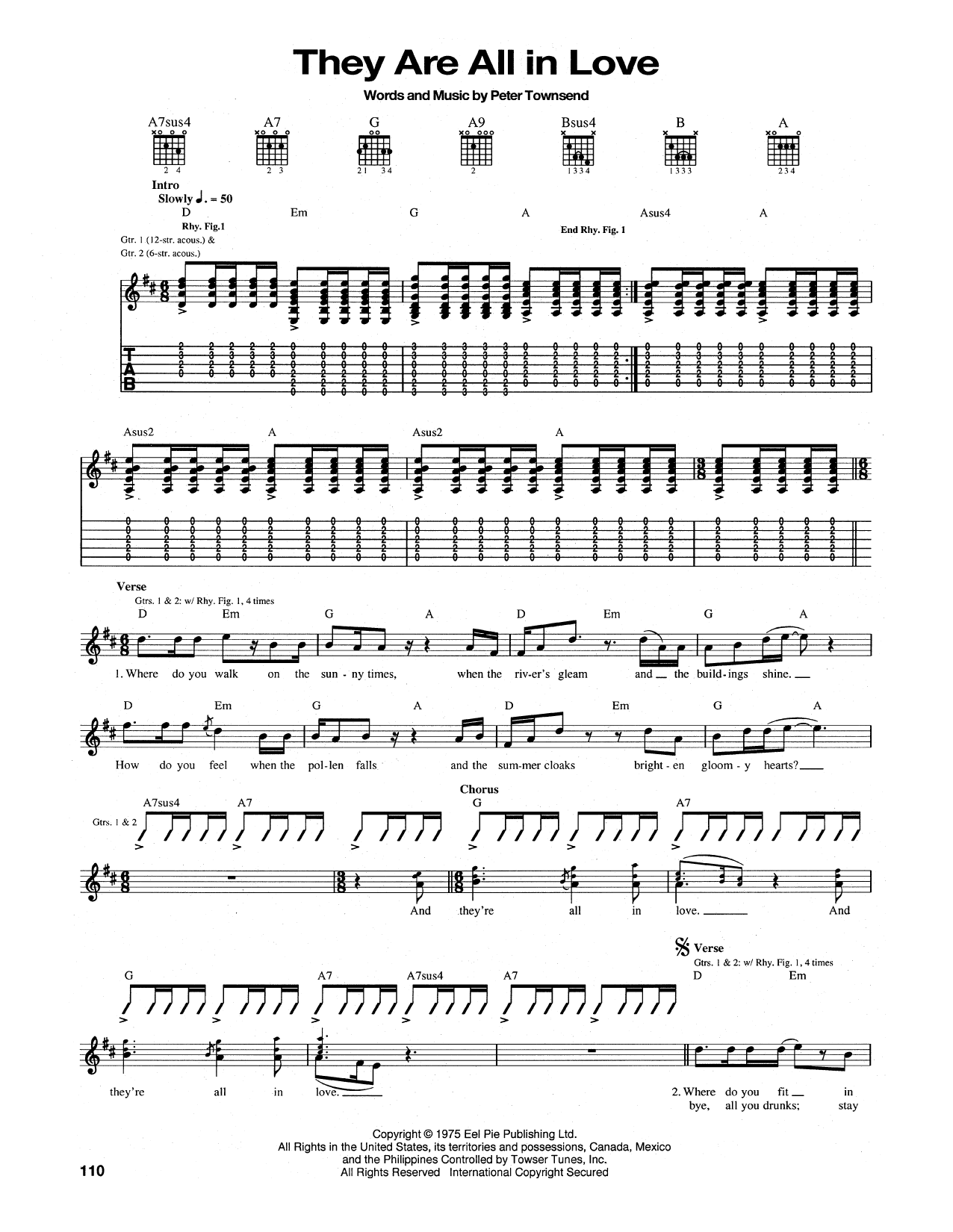 They Are All In Love Sheet Music