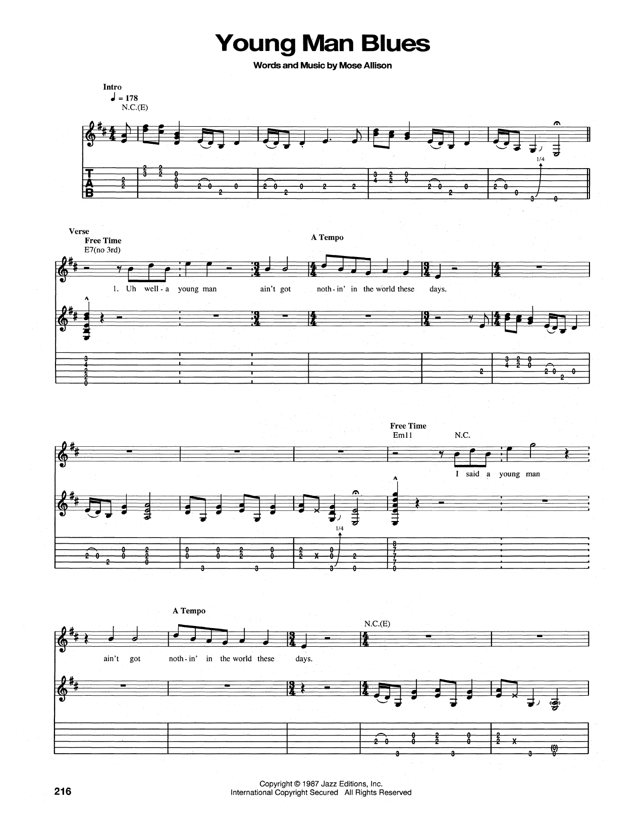 Young Man Blues Sheet Music