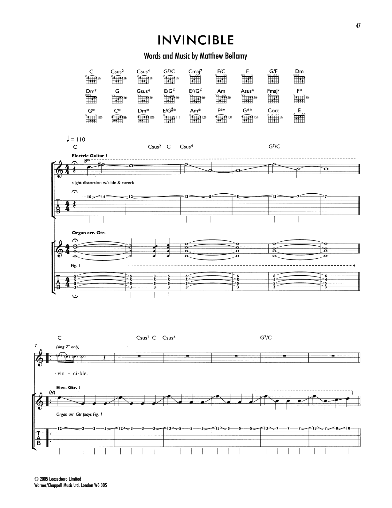 Tablature guitare Invincible de Muse - Tablature Guitare