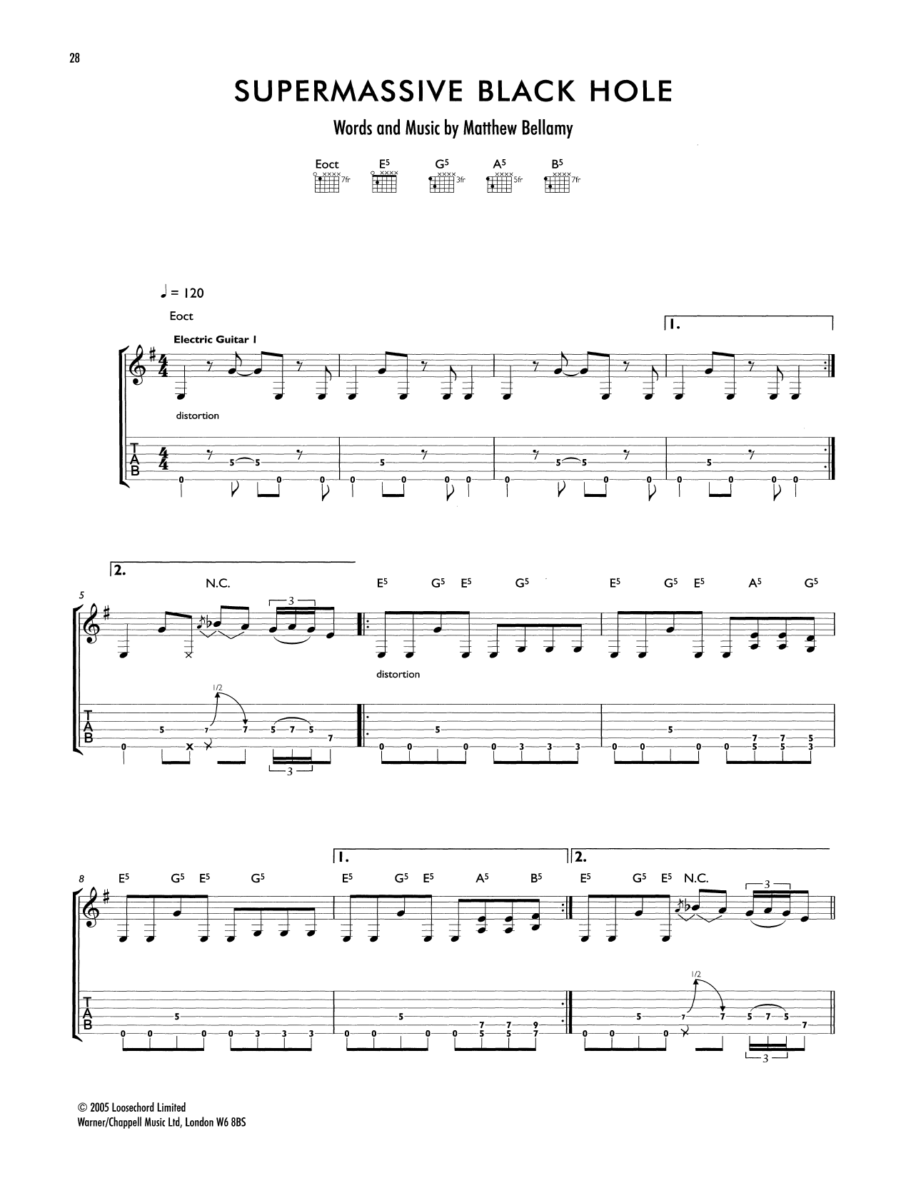 Supermassive Black Hole Sheet Music | Muse | Guitar Tab