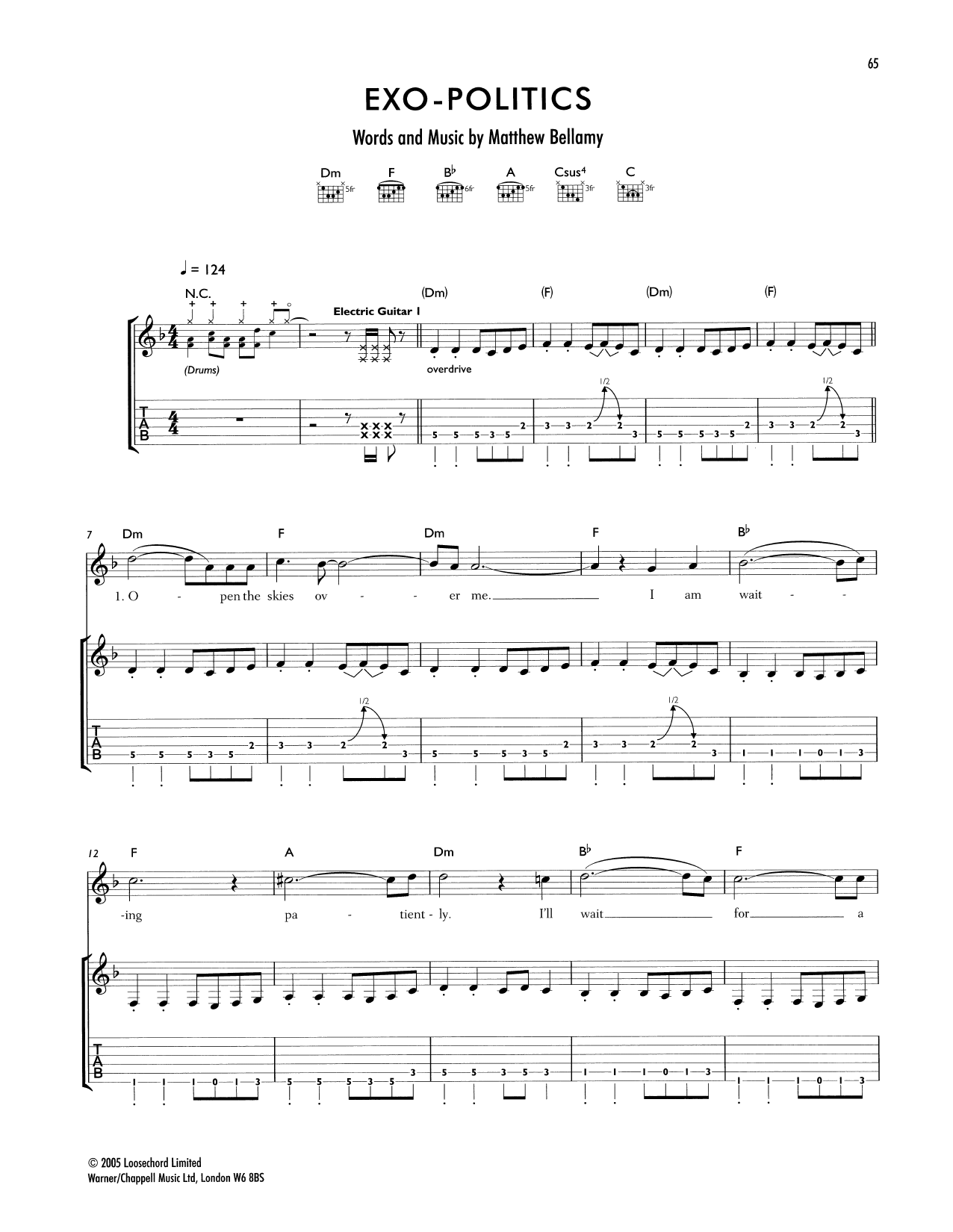 Tablature guitare Exo-Politics de Muse - Tablature Guitare