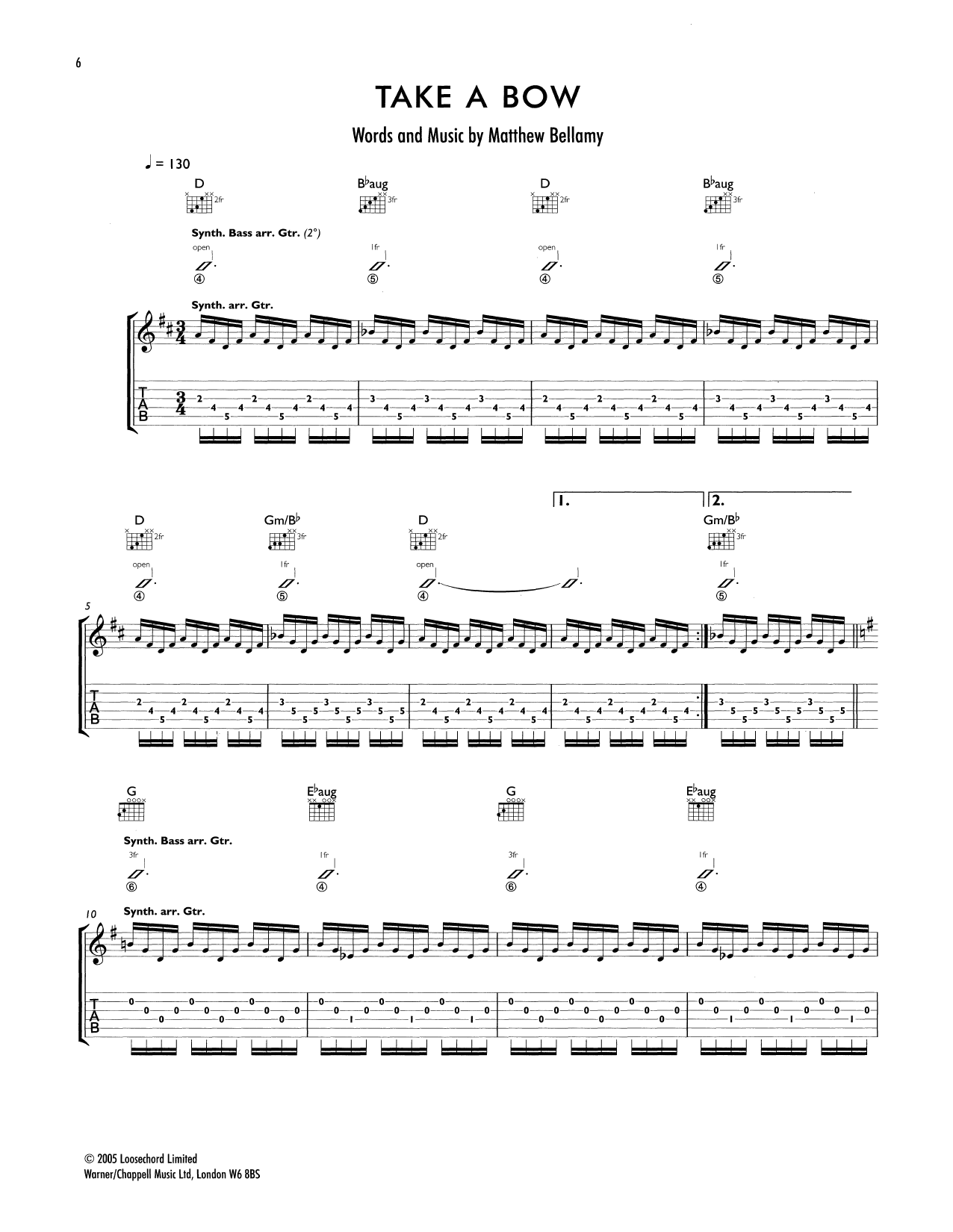 Take A Bow (Guitar Tab)