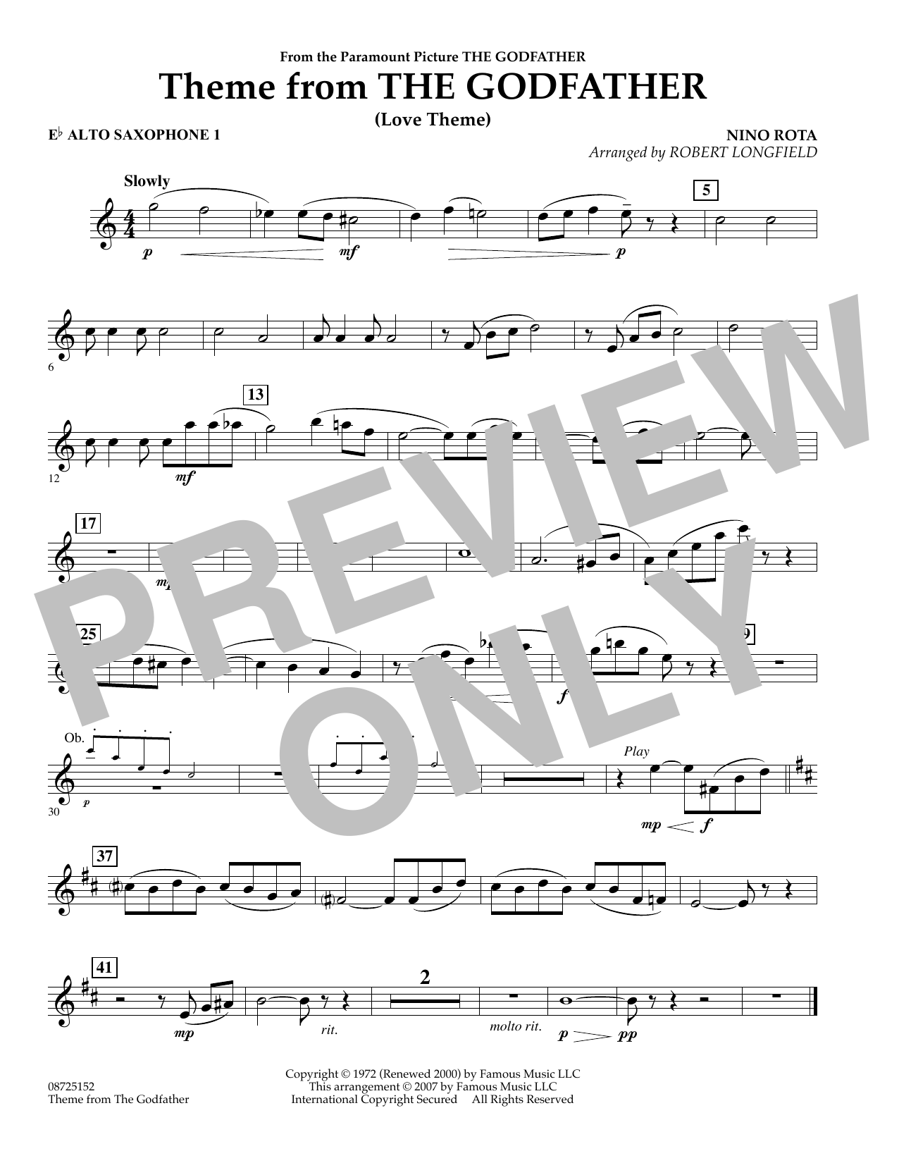 Theme From The Godfather - Eb Alto Saxophone 1 (Concert Band)