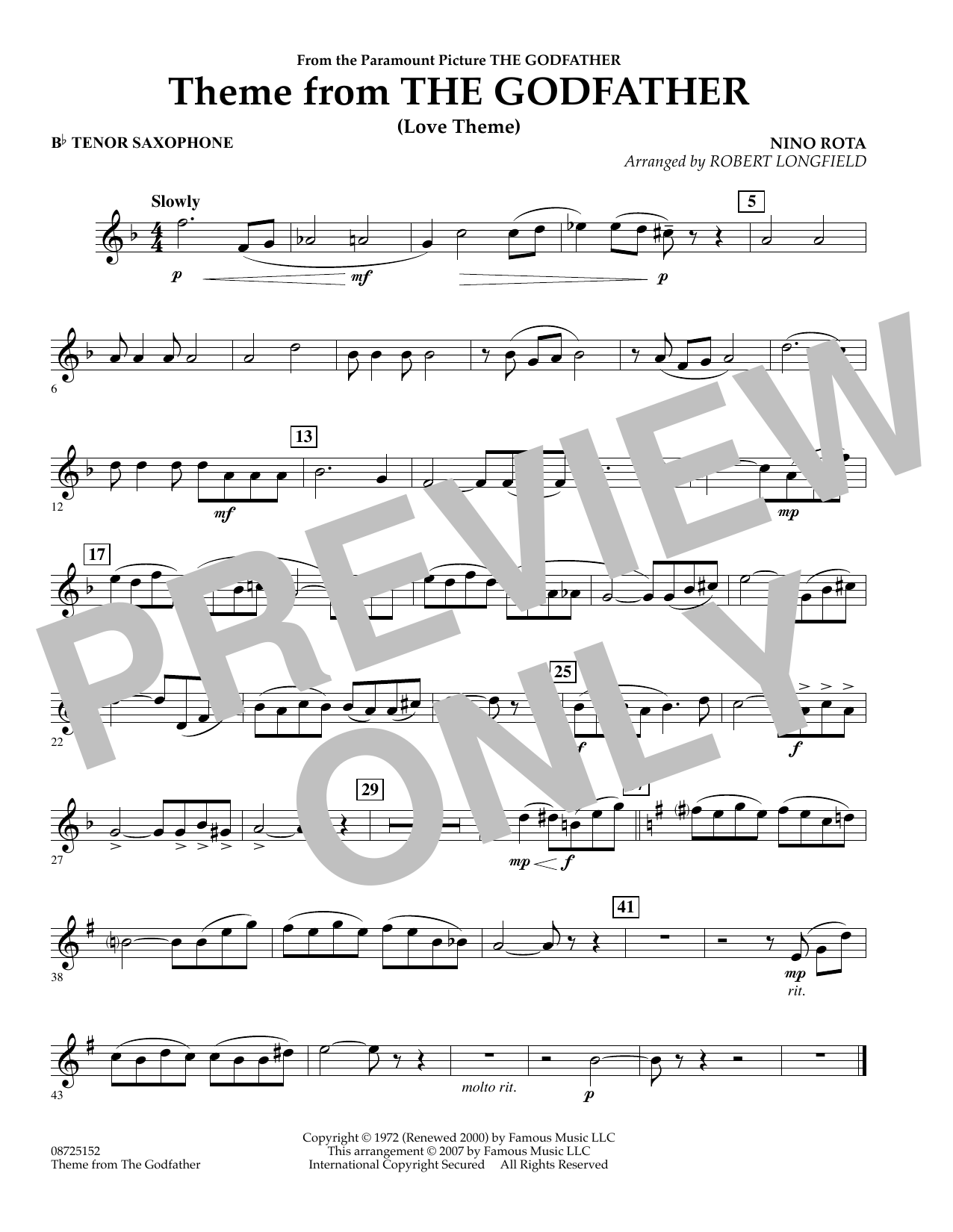 Theme From The Godfather - Bb Tenor Saxophone (Concert Band)