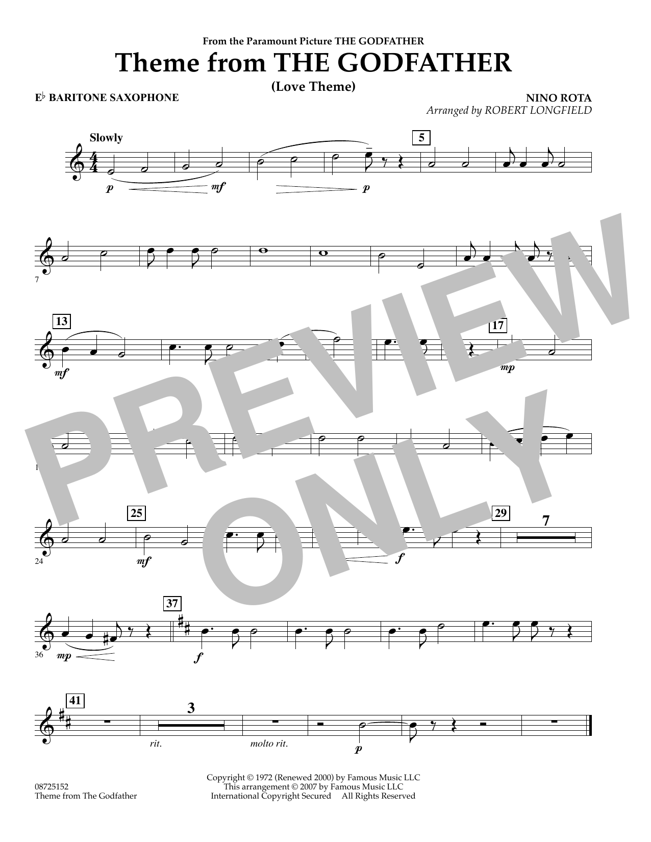 Theme From The Godfather - Eb Baritone Saxophone (Concert Band)