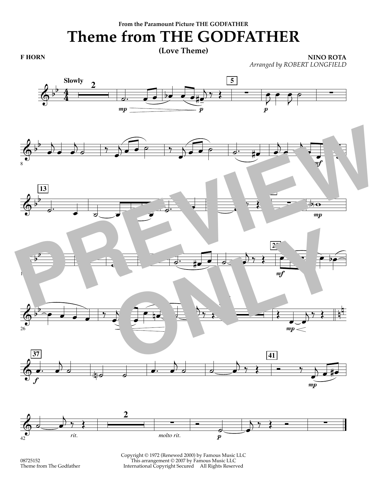 Theme From The Godfather - F Horn (Concert Band)