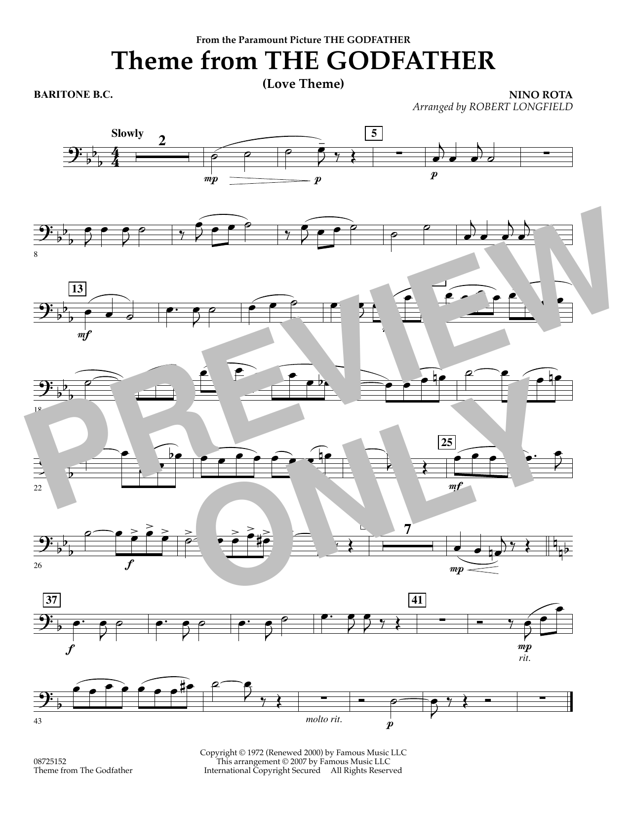 Theme From The Godfather - Baritone B.C. (Concert Band)