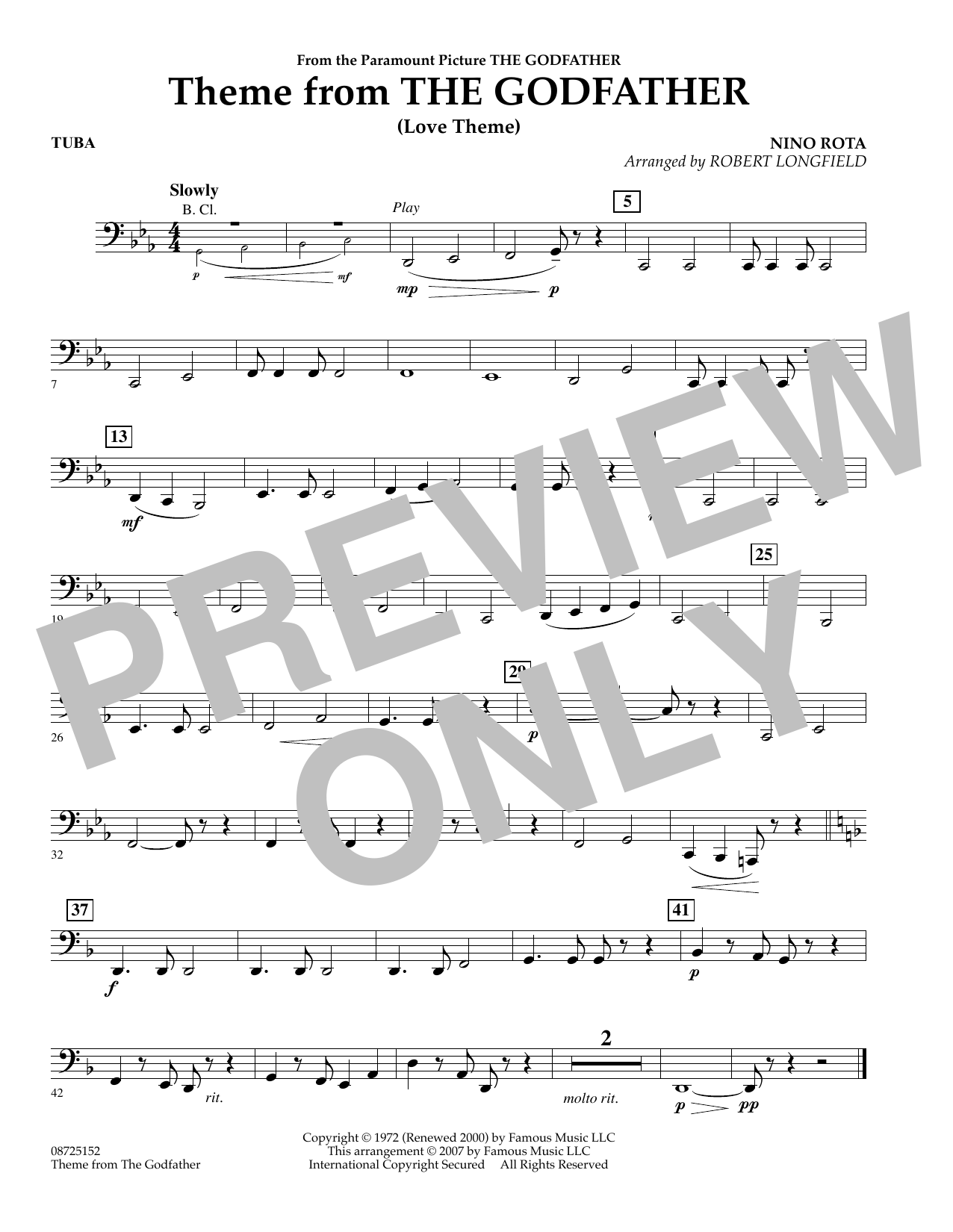 Theme From The Godfather - Tuba (Concert Band)