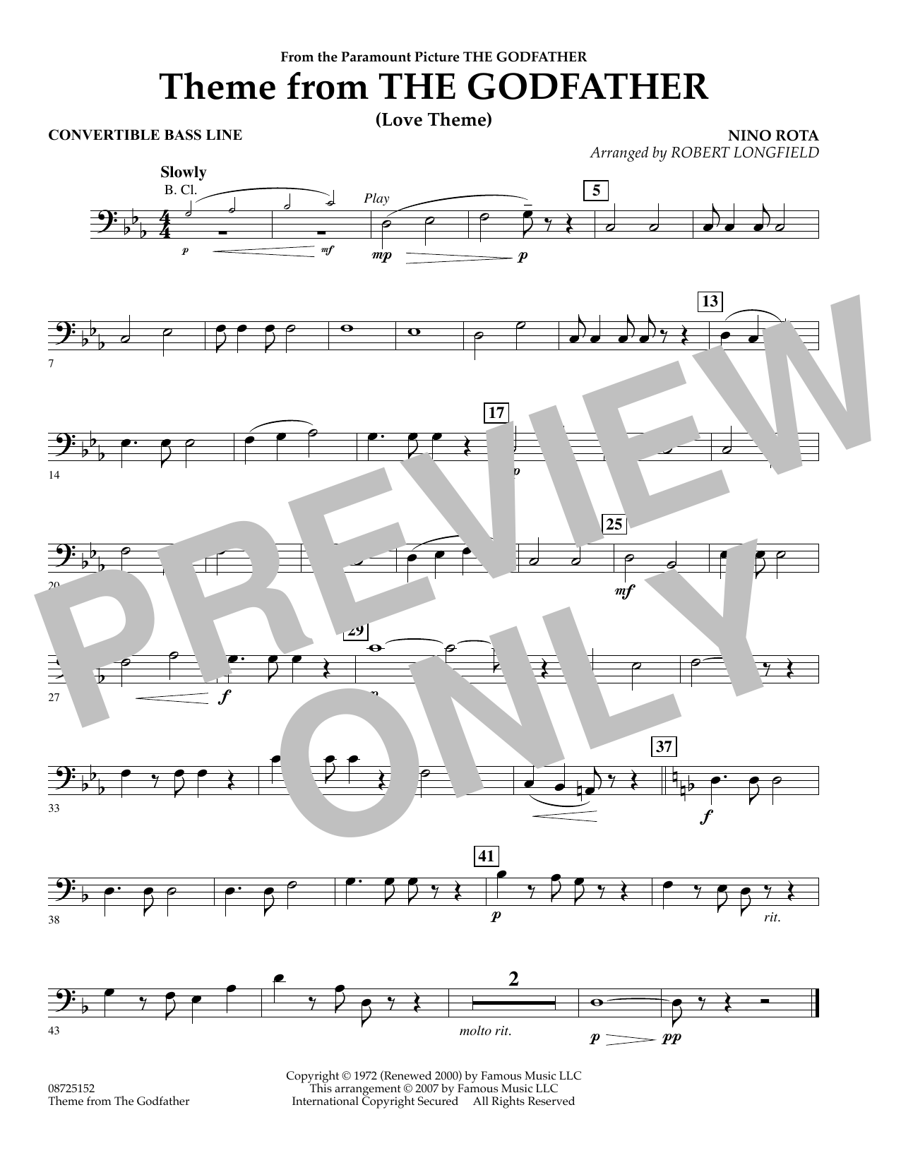 Theme From The Godfather - Convertible Bass Line (Concert Band)