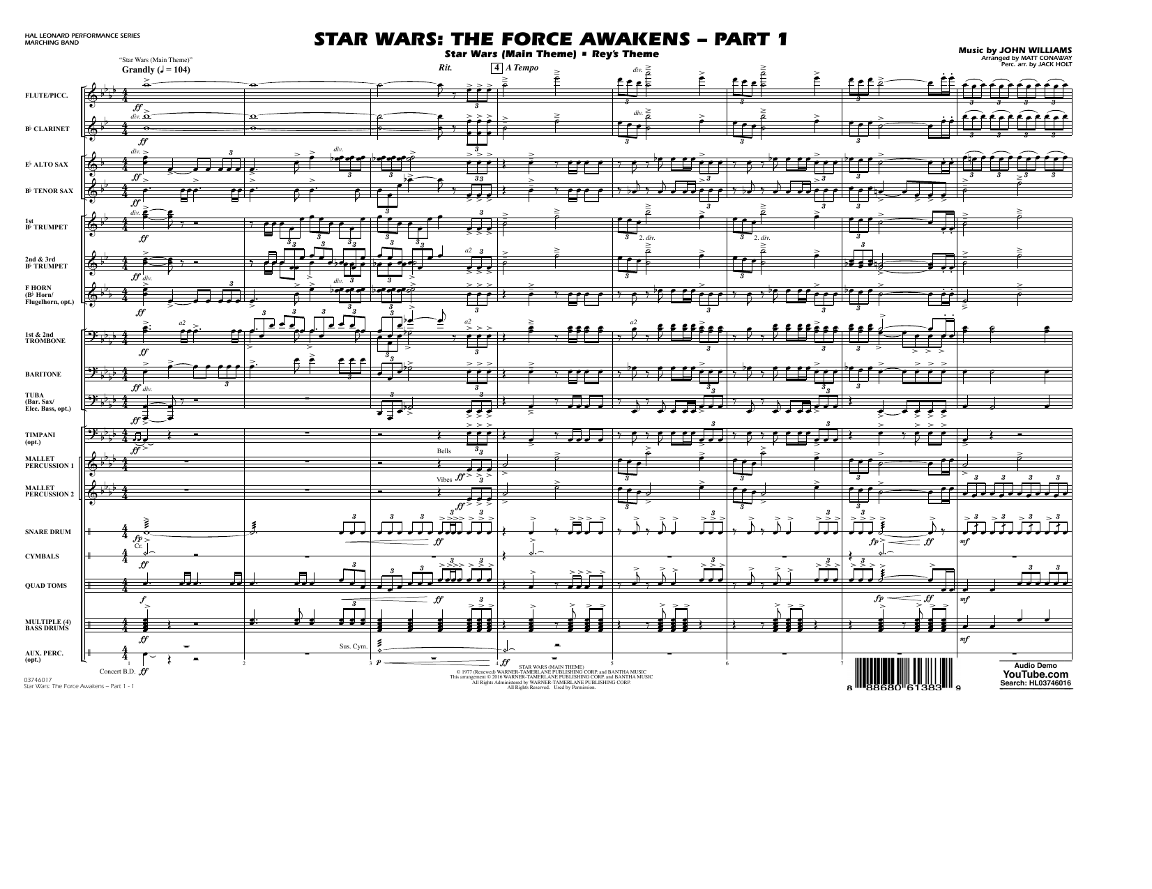 Star Wars: The Force Awakens - Part 1 - Conductor Score (Full Score) (Marching Band)