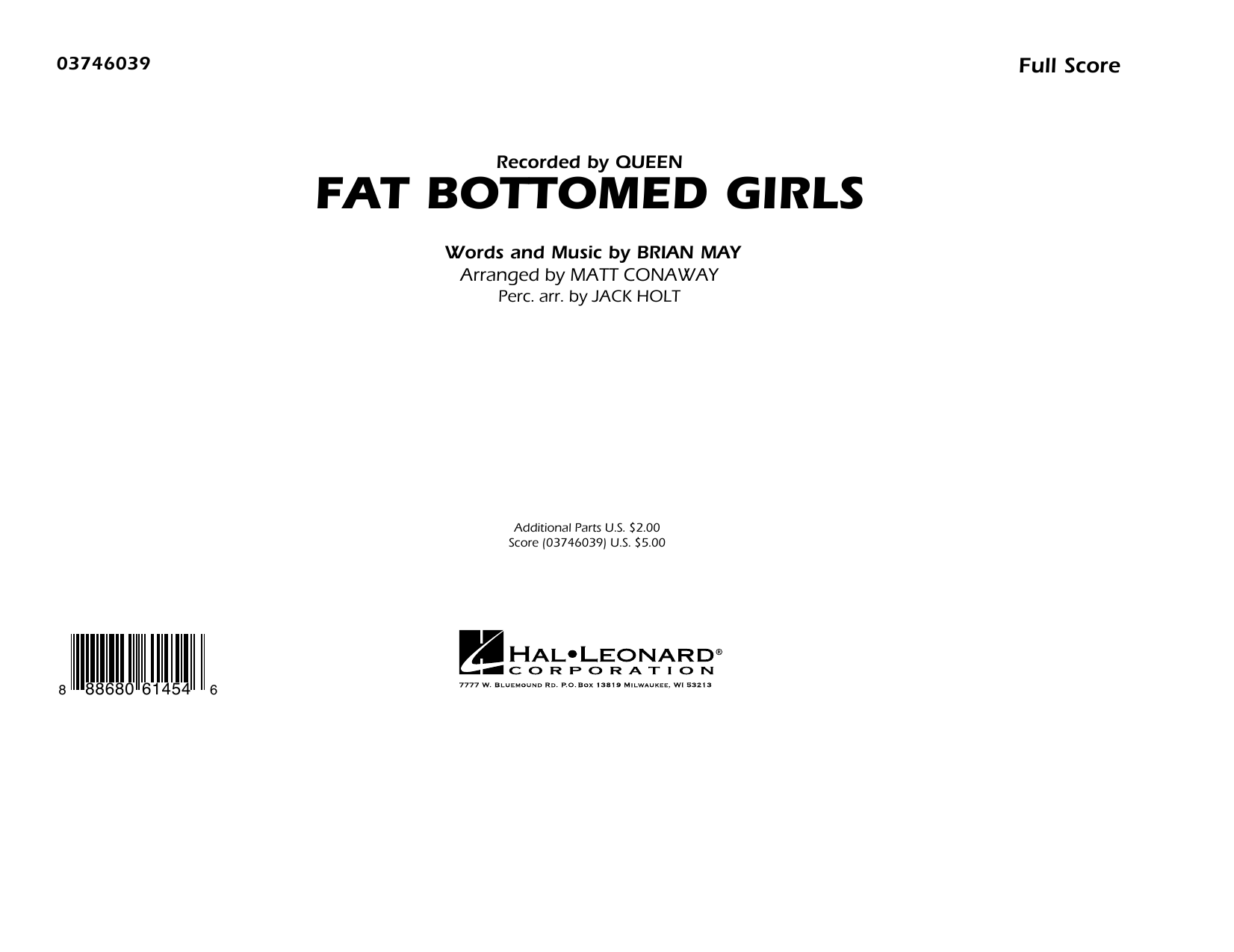 Fat Bottomed Girls (COMPLETE) sheet music for marching band by Queen, Brian May and Matt Conaway. Score Image Preview.