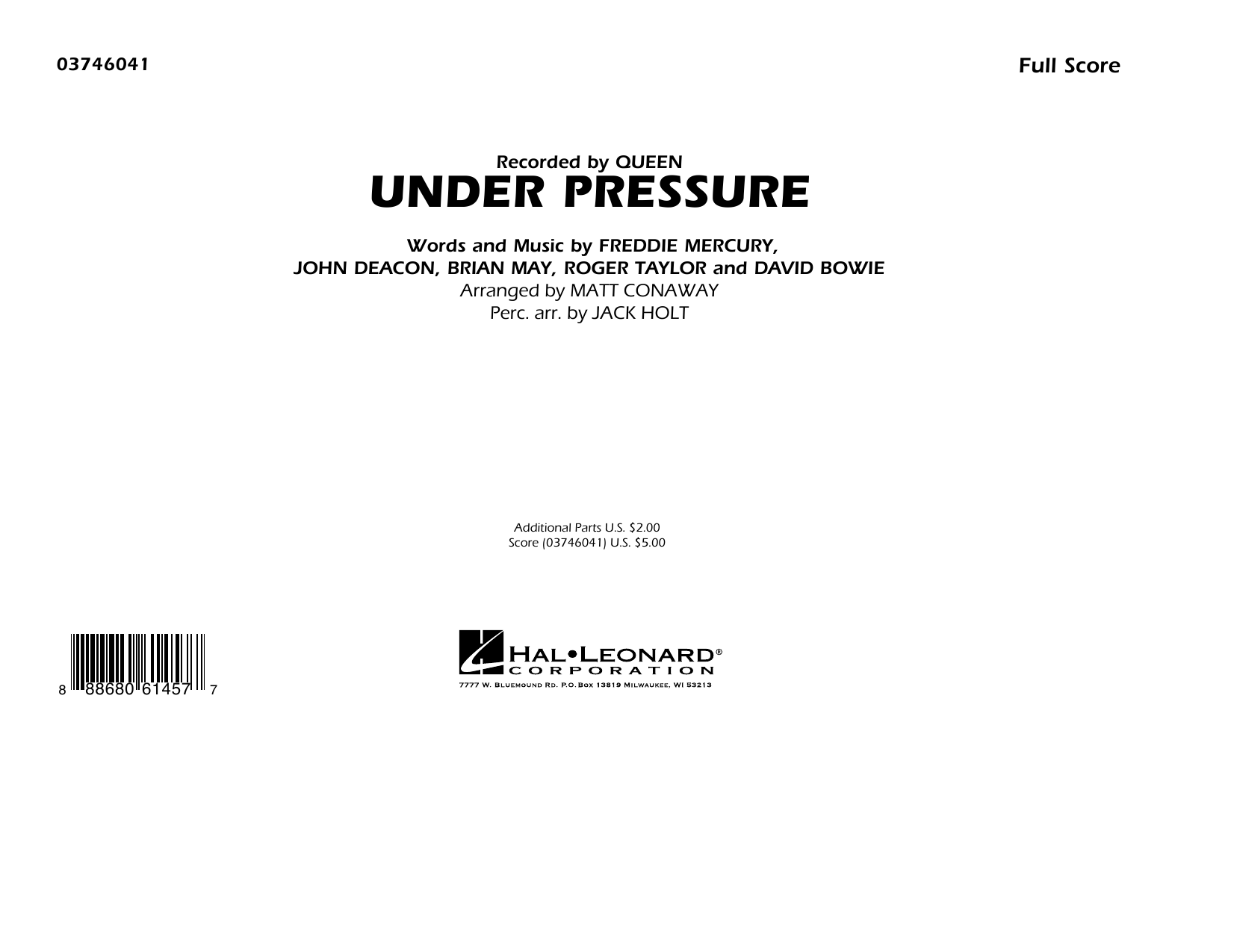 Under Pressure (COMPLETE) sheet music for marching band by Queen, David Bowie, Freddie Mercury and Matt Conaway. Score Image Preview.