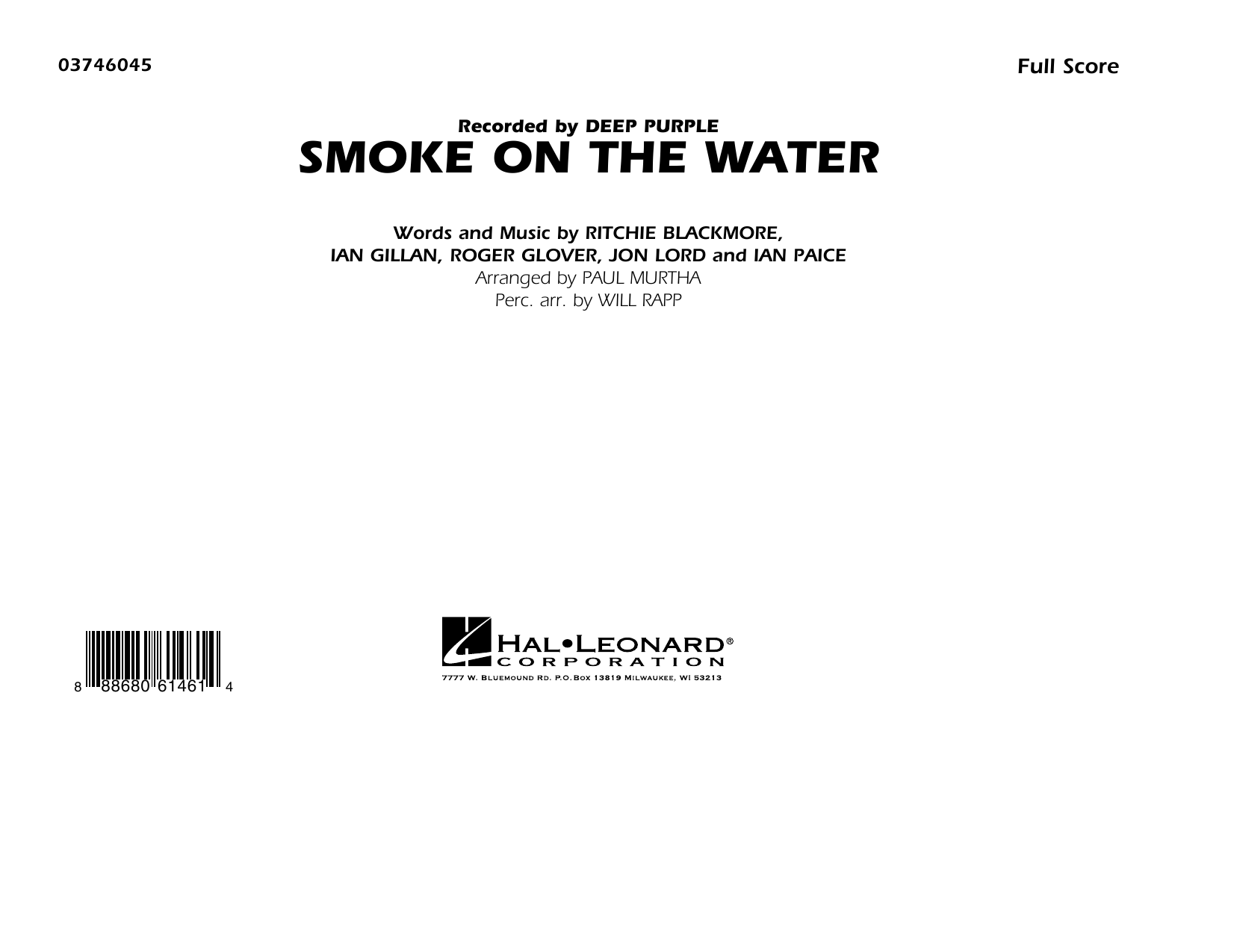 Smoke on the Water (COMPLETE) sheet music for marching band by Will Rapp, Deep Purple, Ian Gillan, Paul Murtha and Roger Glover. Score Image Preview.