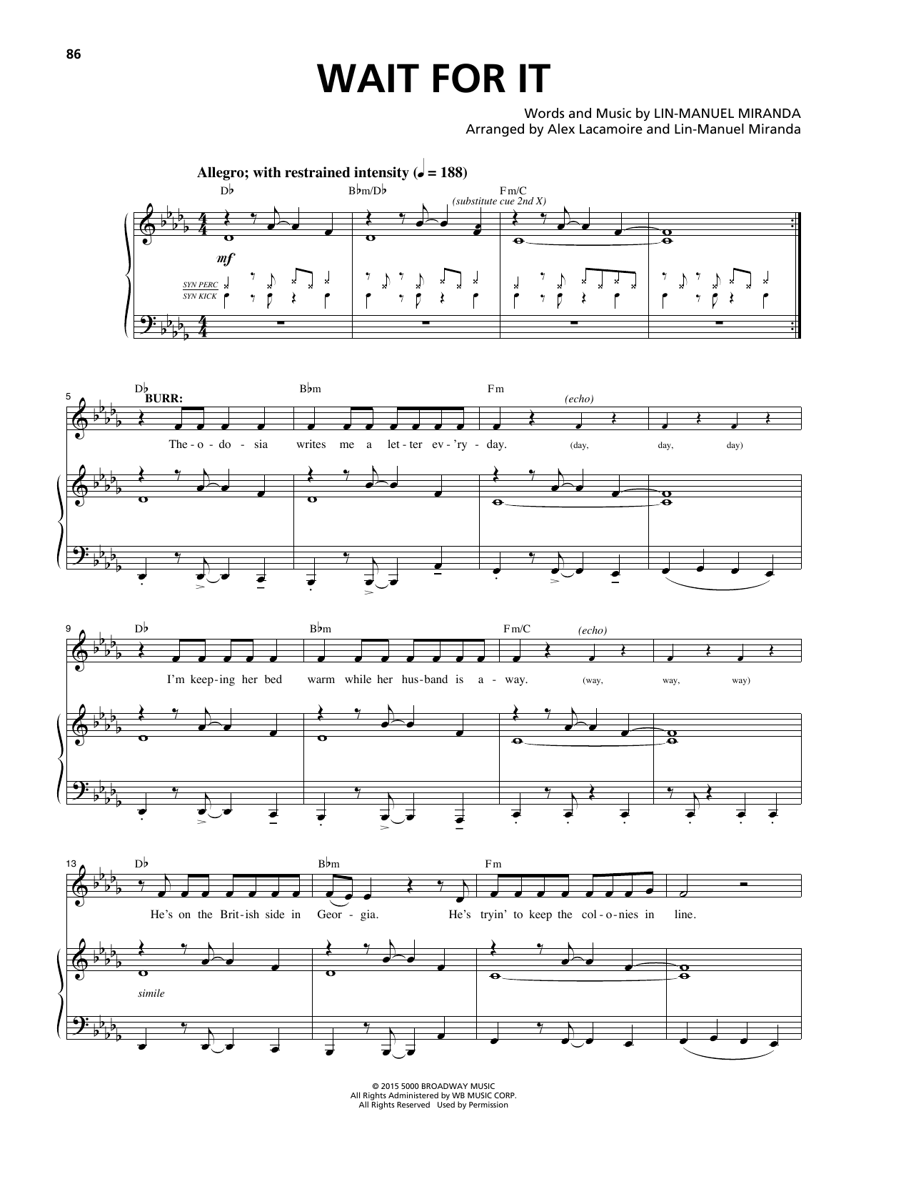 Wait For It Sheet Music