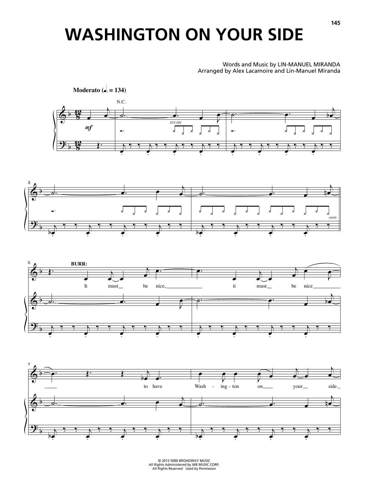 Washington On Your Side (from 'Hamilton') Sheet Music