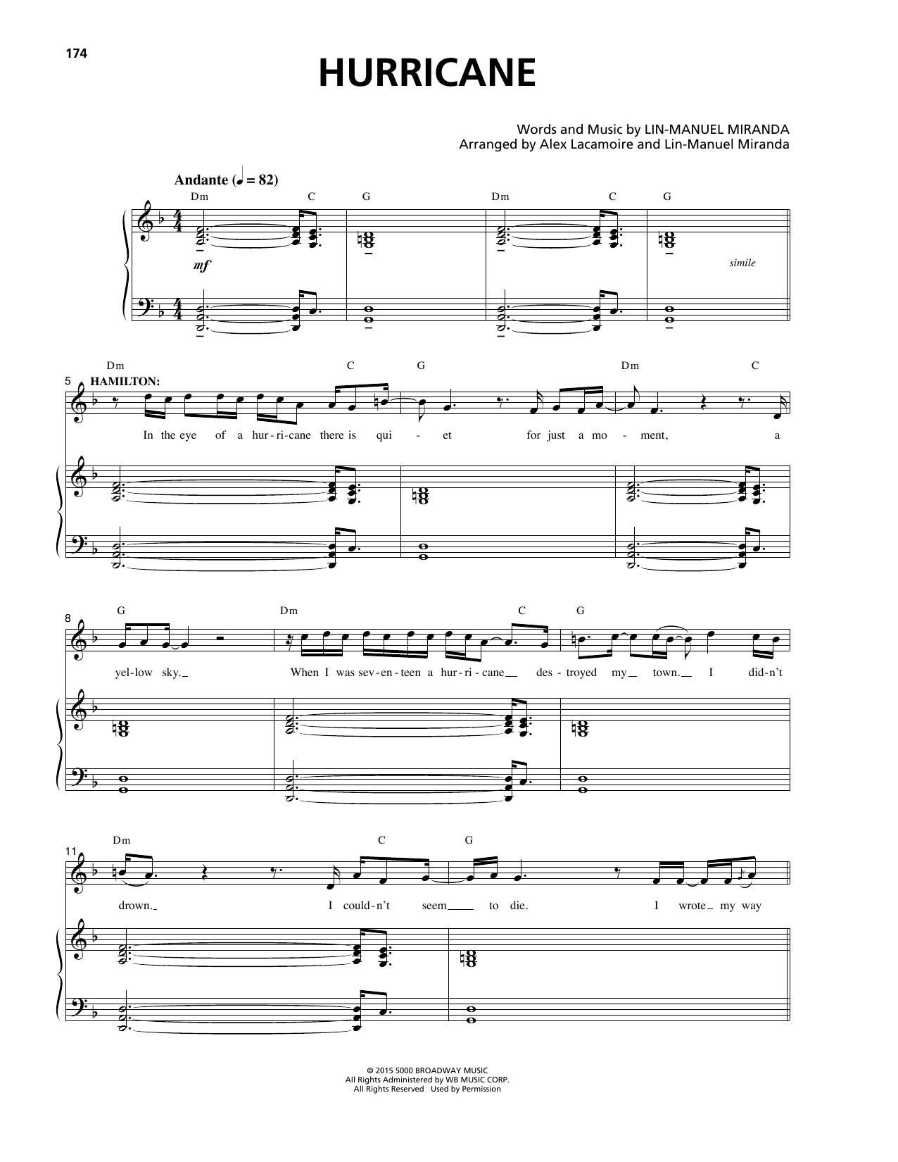 Hurricane (from Hamilton) (Piano & Vocal)