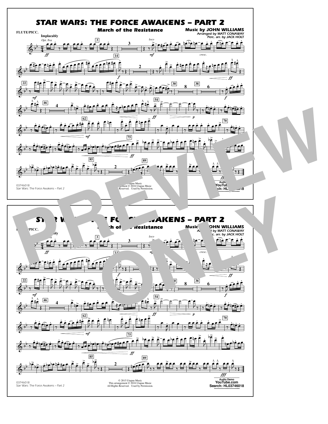 Star Wars: The Force Awakens - Part 2 - Flute/Piccolo (Marching Band)