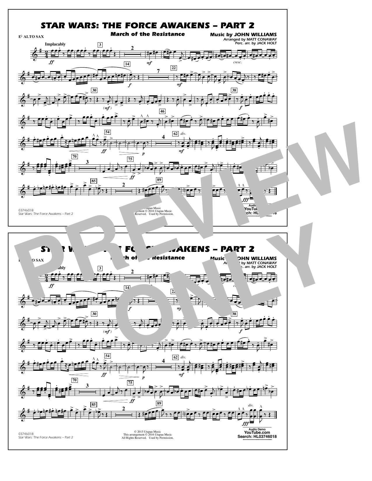 Star Wars: The Force Awakens - Part 2 - Eb Alto Sax (Marching Band)
