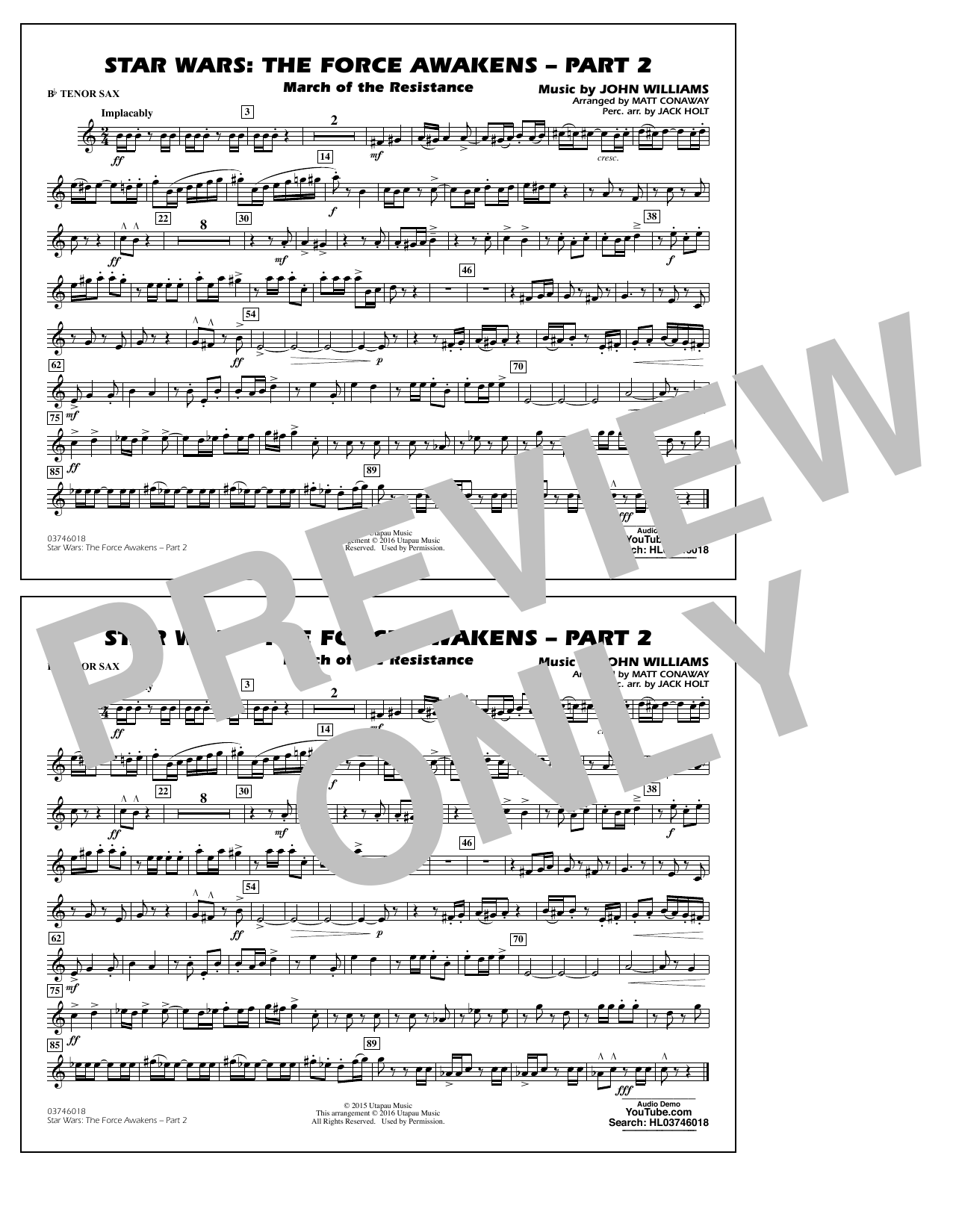 Star Wars: The Force Awakens - Part 2 - Bb Tenor Sax (Marching Band)
