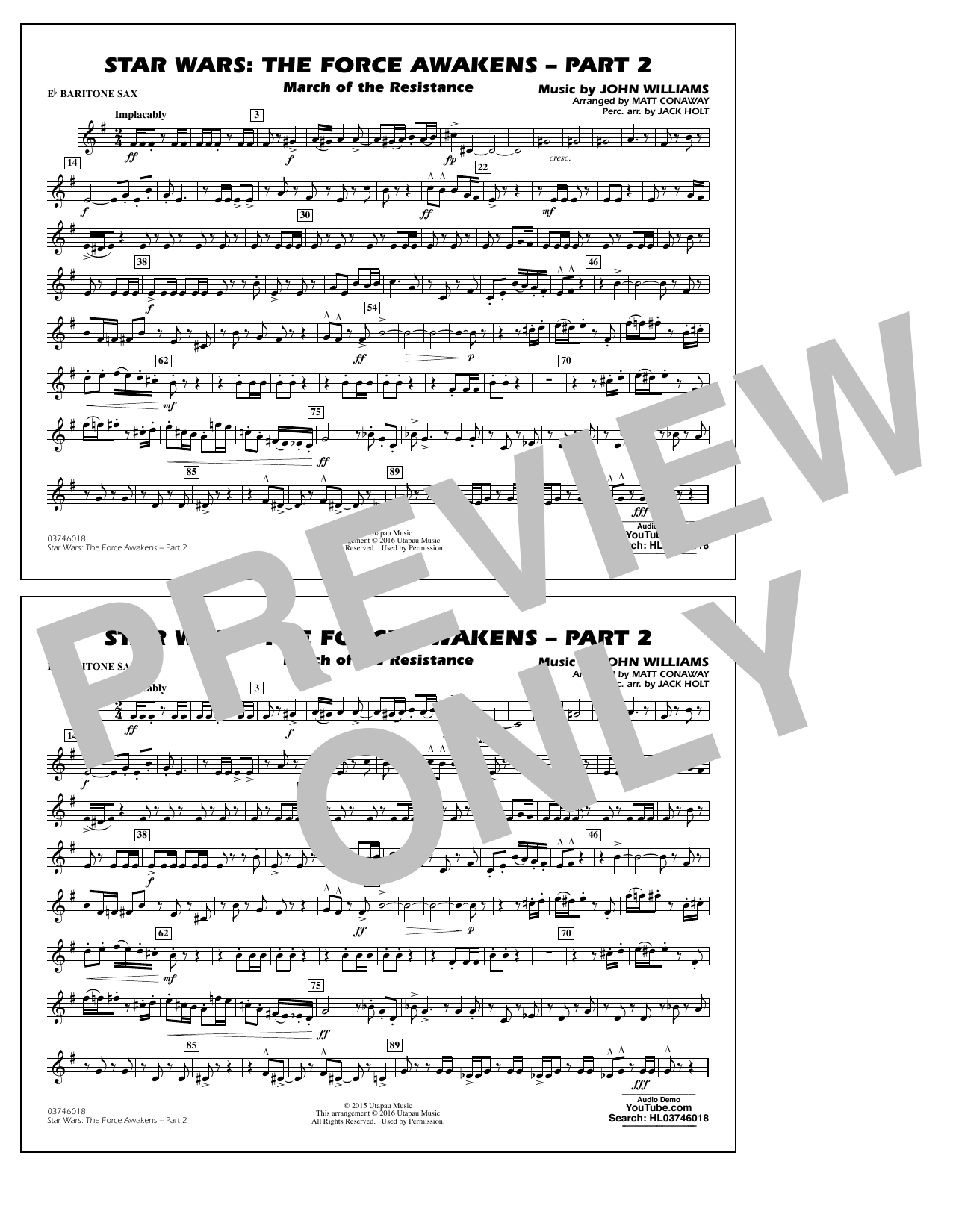 Star Wars: The Force Awakens - Part 2 - Eb Baritone Sax (Marching Band)