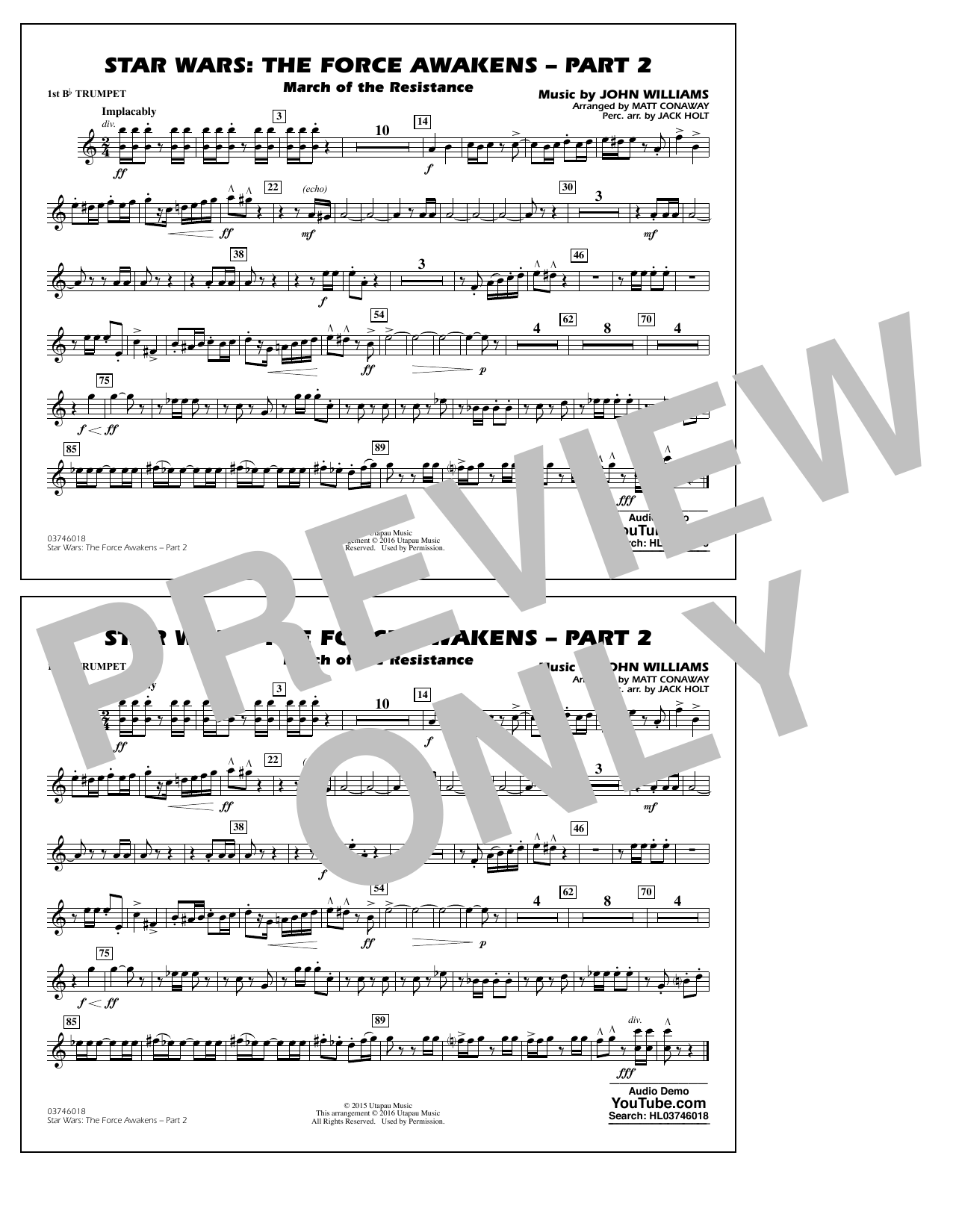 Star Wars: The Force Awakens - Part 2 - 1st Bb Trumpet (Marching Band)