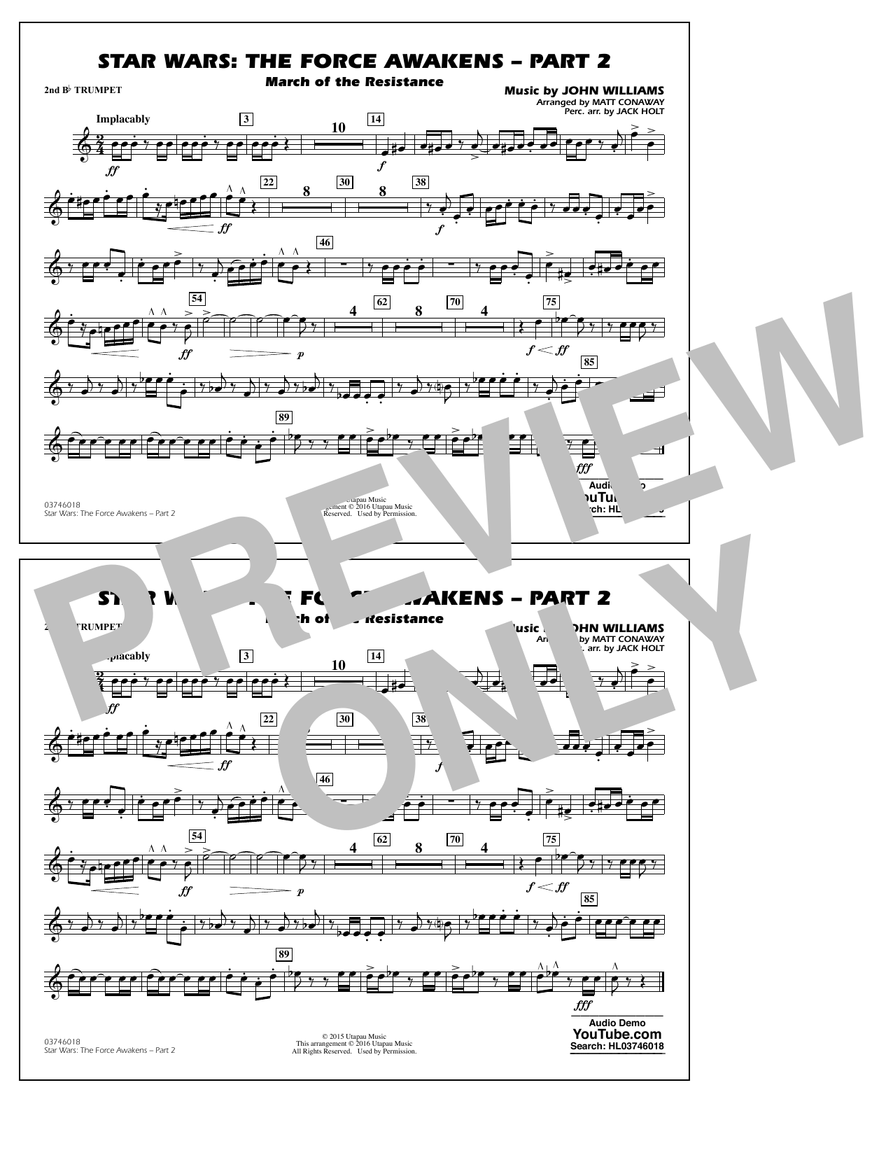 Star Wars: The Force Awakens - Part 2 - 2nd Bb Trumpet (Marching Band)