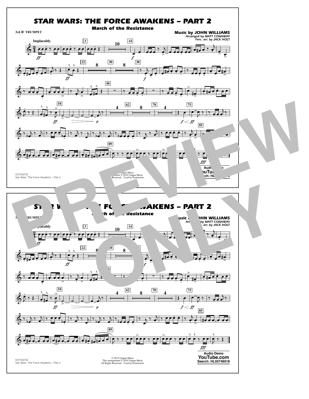 Star Wars: The Force Awakens - Part 2 - 3rd Bb Trumpet (Marching Band)