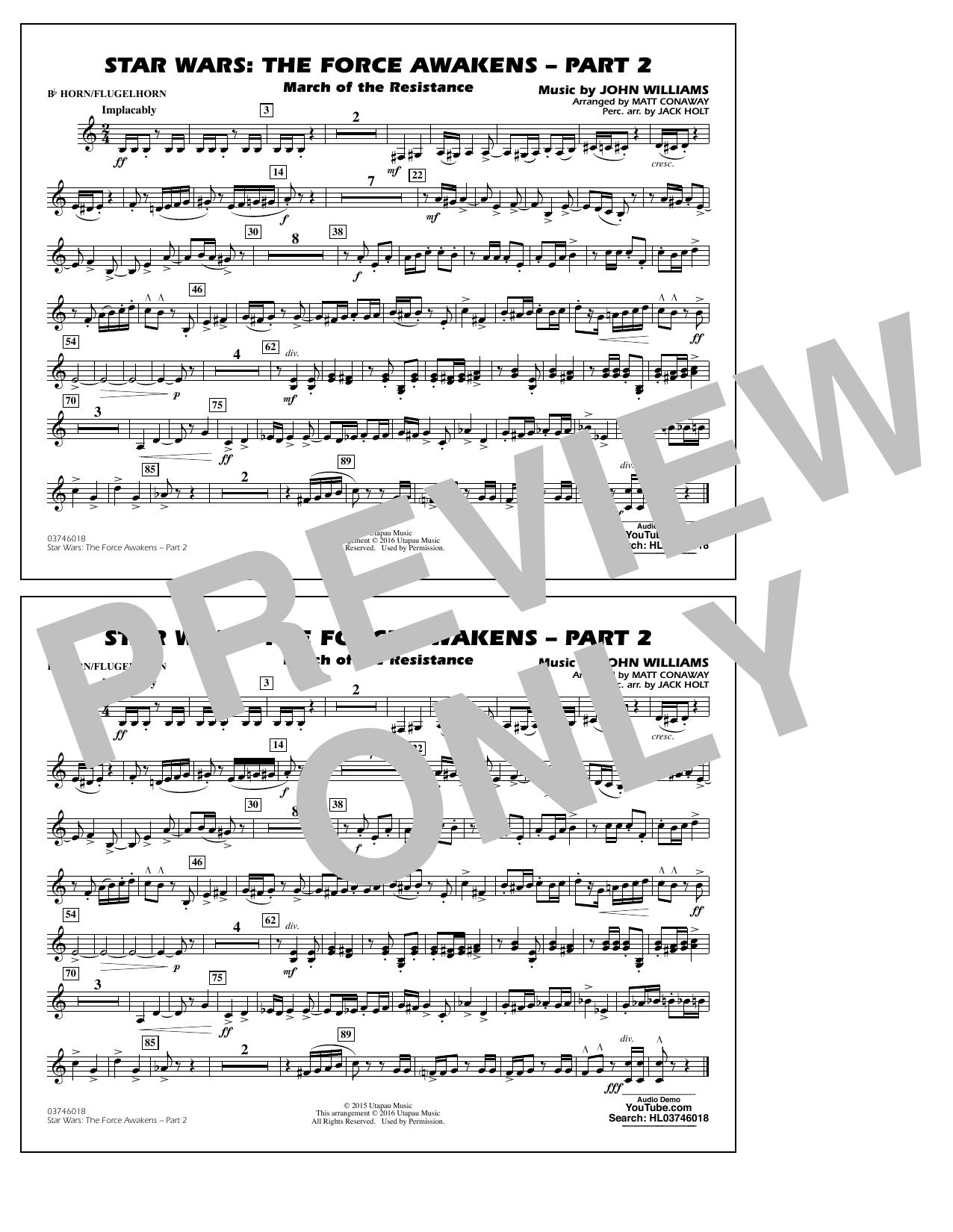 Star Wars: The Force Awakens - Part 2 - Bb Horn/Flugelhorn (Marching Band)