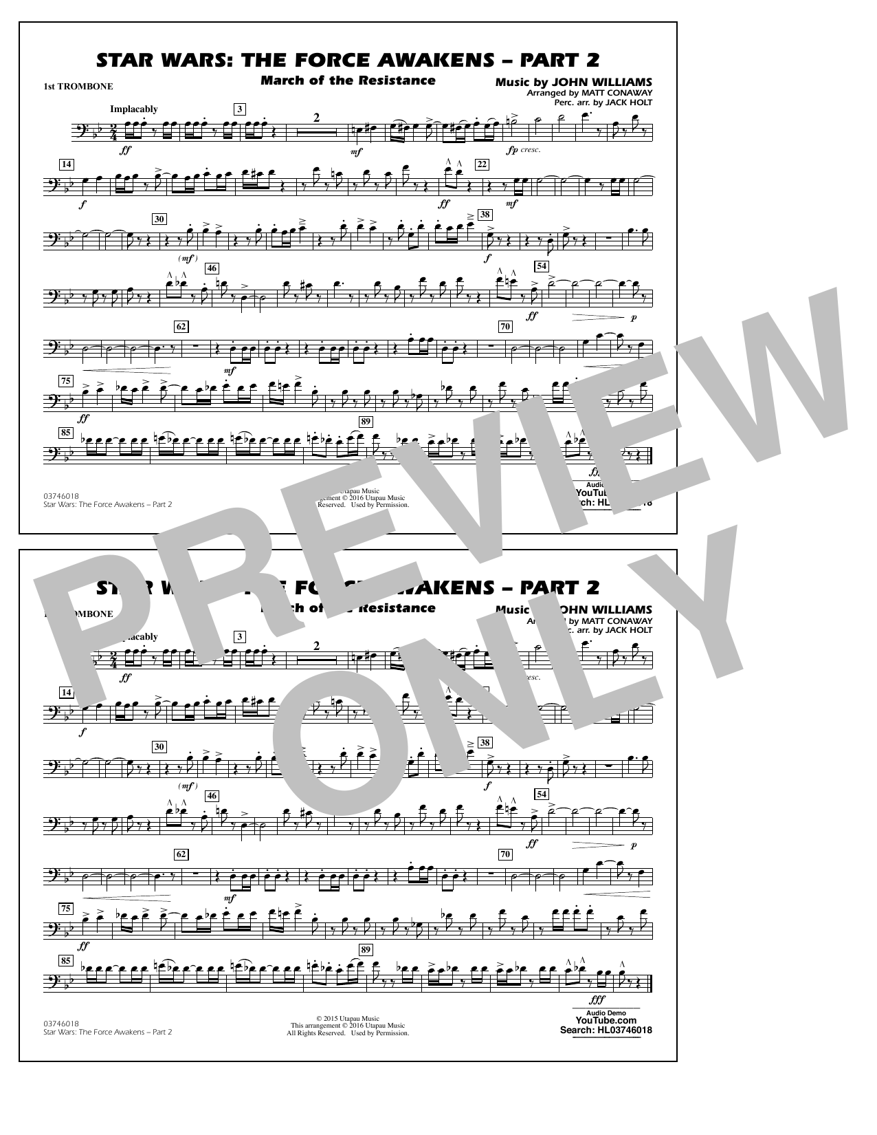 Star Wars: The Force Awakens - Part 2 - 1st Trombone (Marching Band)