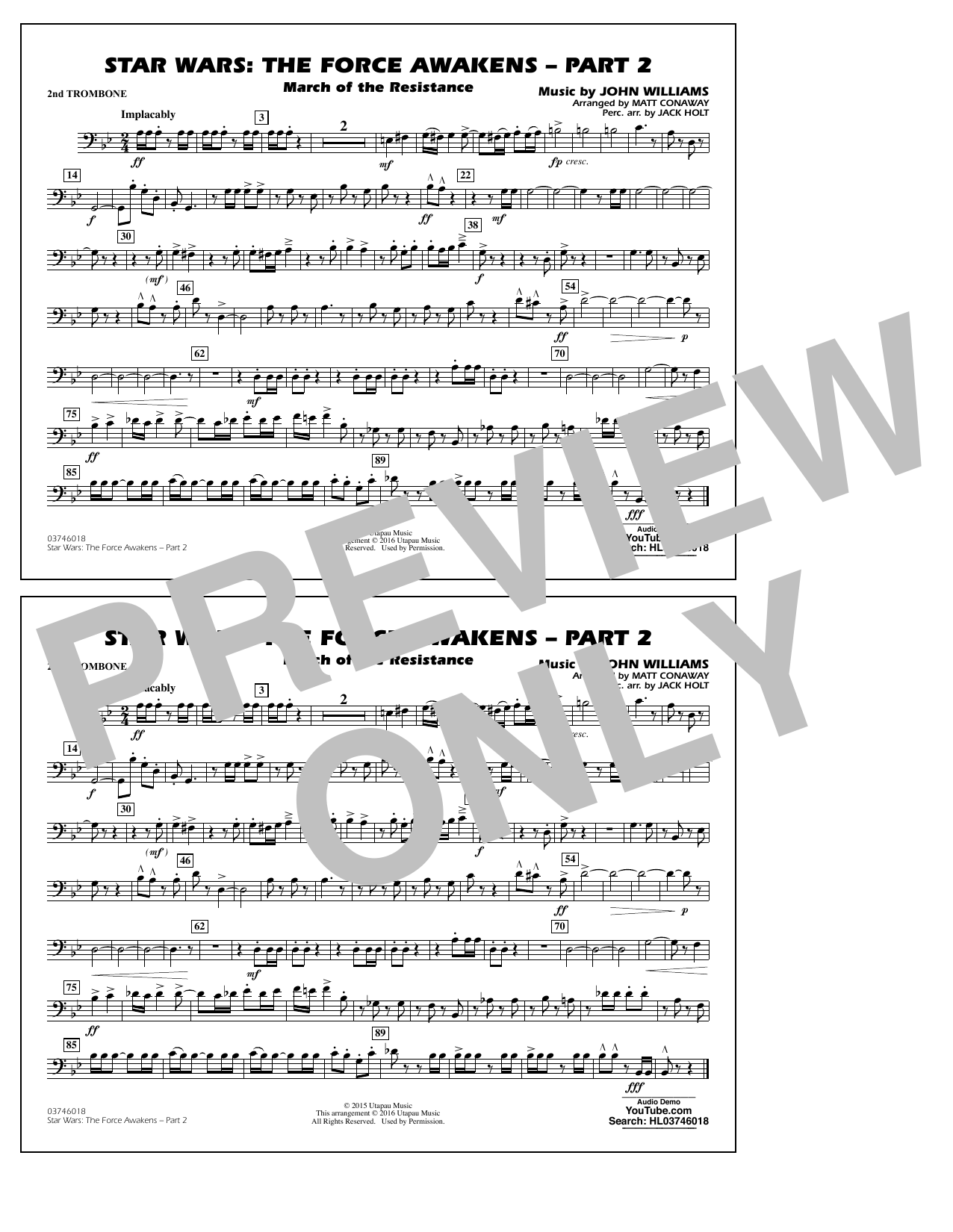 Star Wars: The Force Awakens - Part 2 - 2nd Trombone (Marching Band)