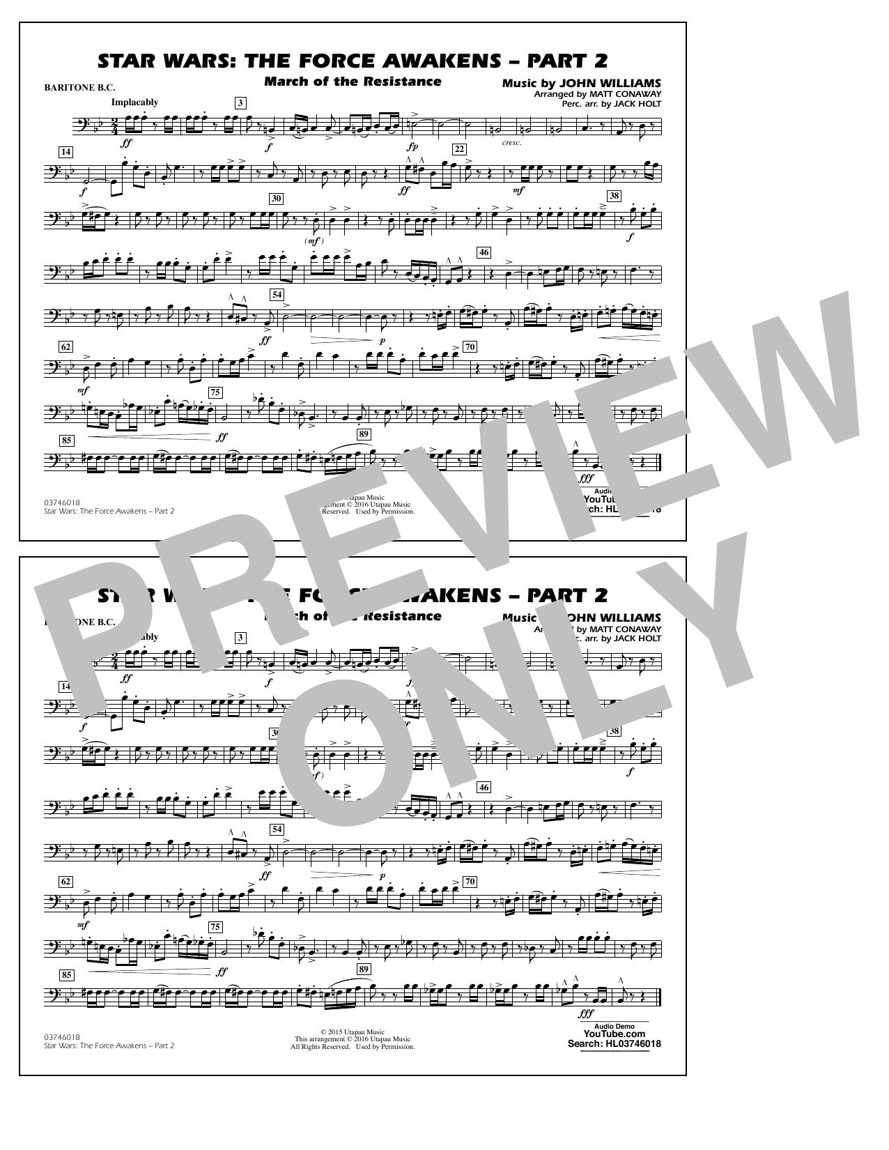 Star Wars: The Force Awakens - Part 2 - Baritone B.C. (Marching Band)