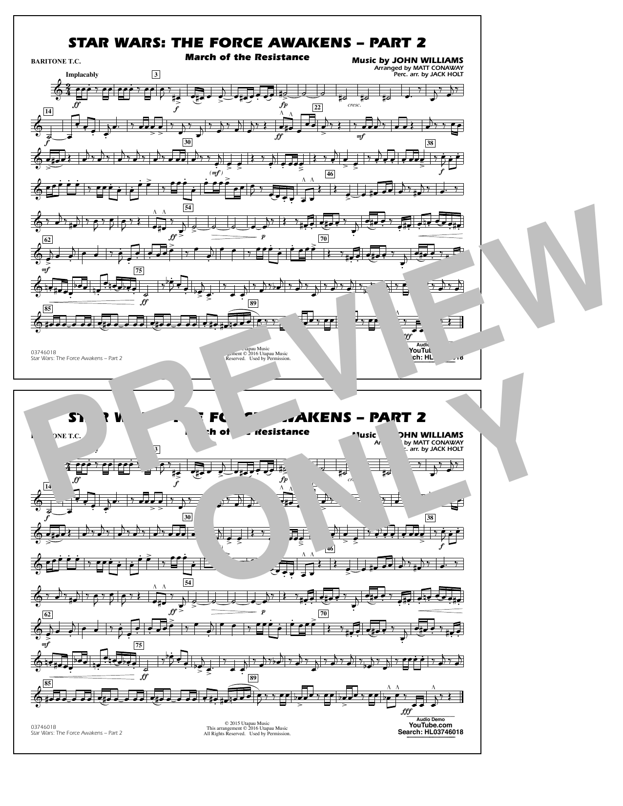 Star Wars: The Force Awakens - Part 2 - Baritone T C  by Matt Conaway  Marching Band Digital Sheet Music