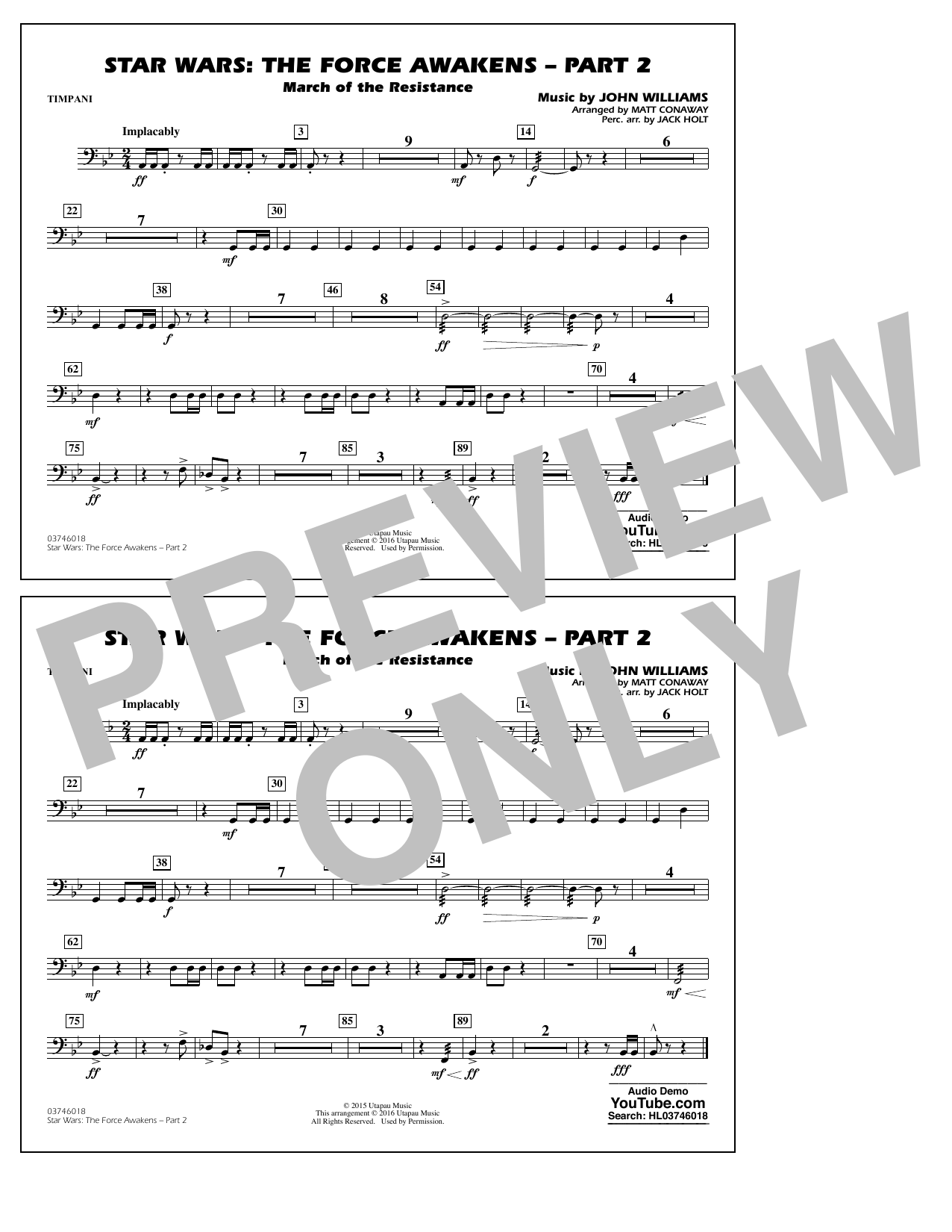Star Wars: The Force Awakens - Part 2 - Timpani (Marching Band)