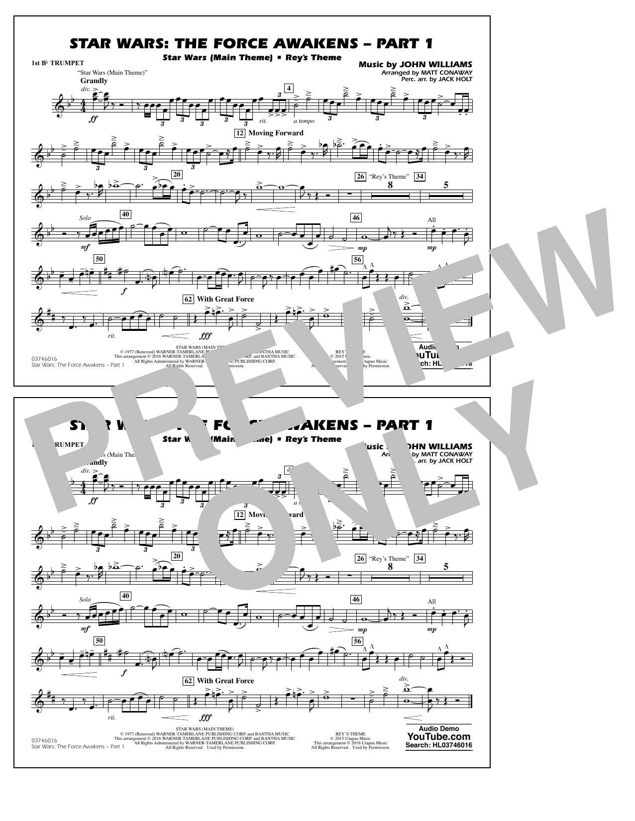 Star Wars: The Force Awakens - Part 1 - 1st Bb Trumpet (Marching Band)