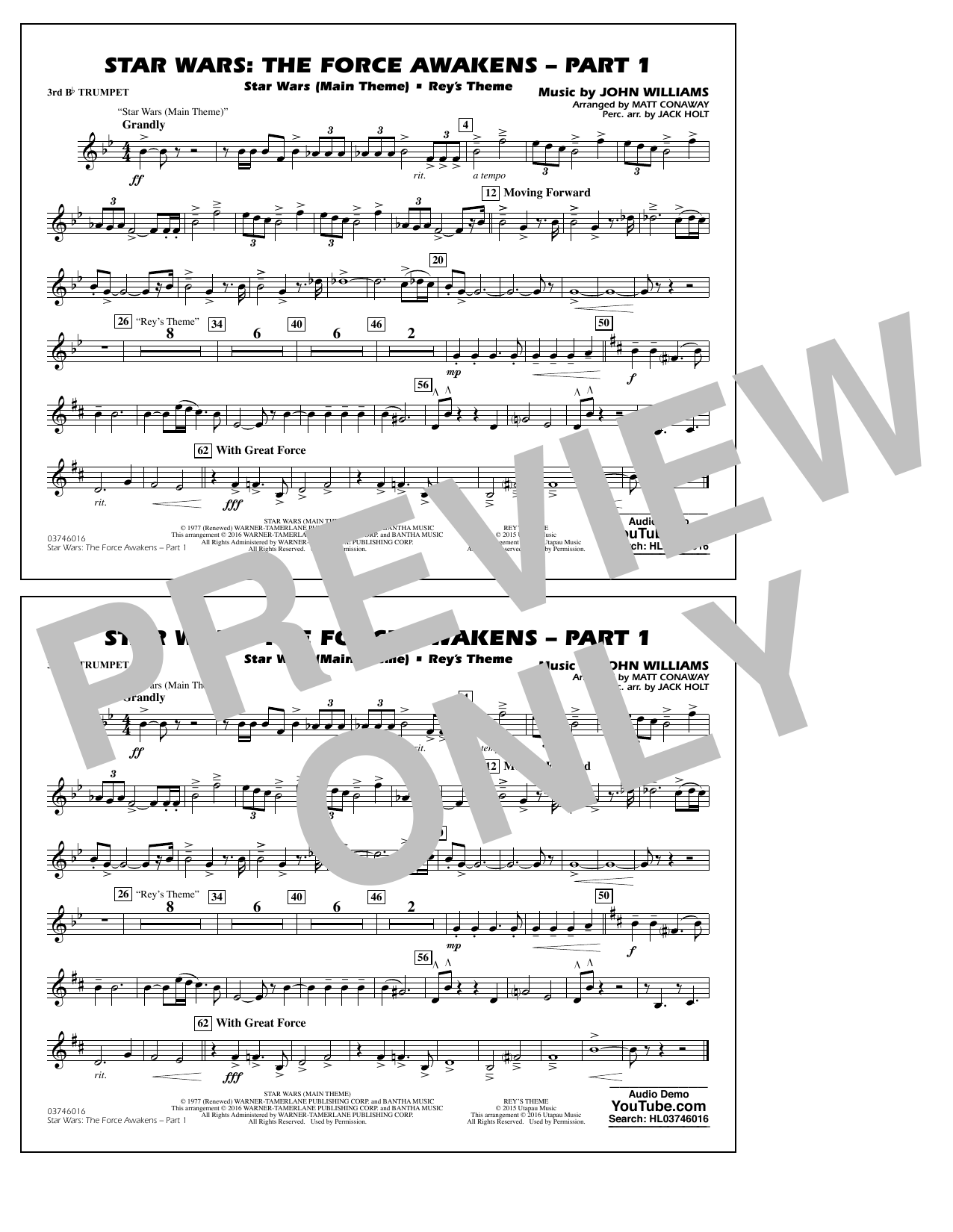 Star Wars: The Force Awakens - Part 1 - 3rd Bb Trumpet