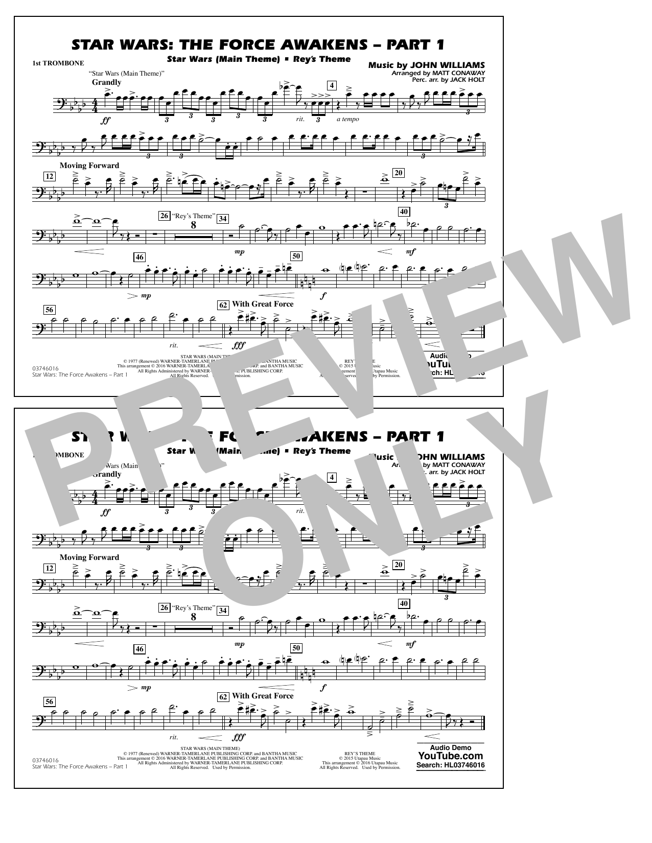 Star Wars: The Force Awakens - Part 1 - 1st Trombone (Marching Band)